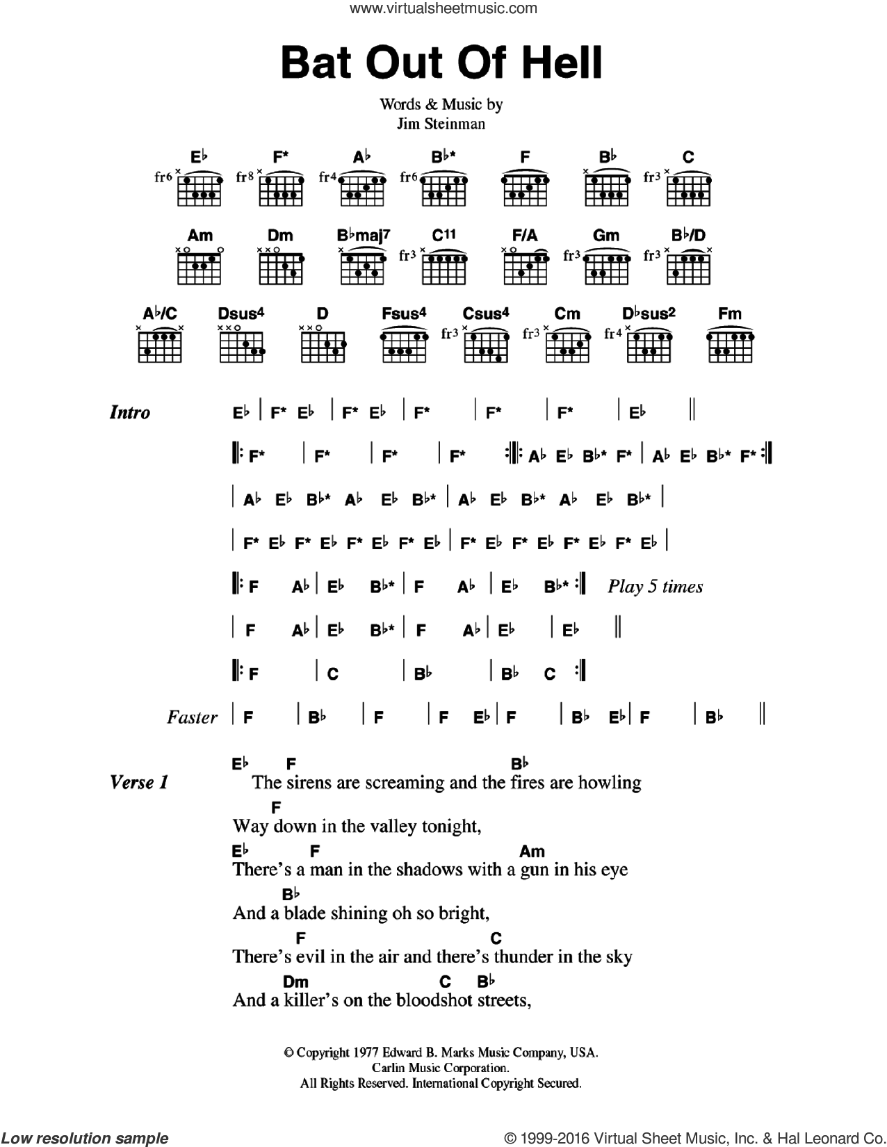 Loaf Bat Out Of Hell Sheet Music For Guitar Chords Pdf