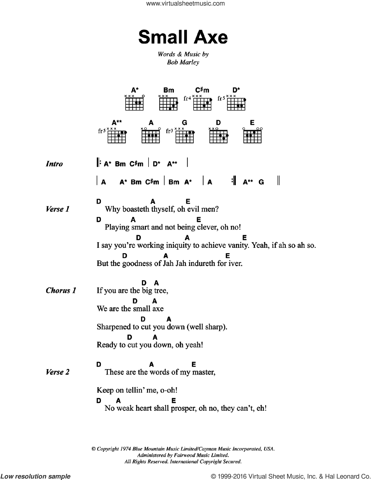 Marley Small Axe Sheet Music For Guitar Chords Pdf