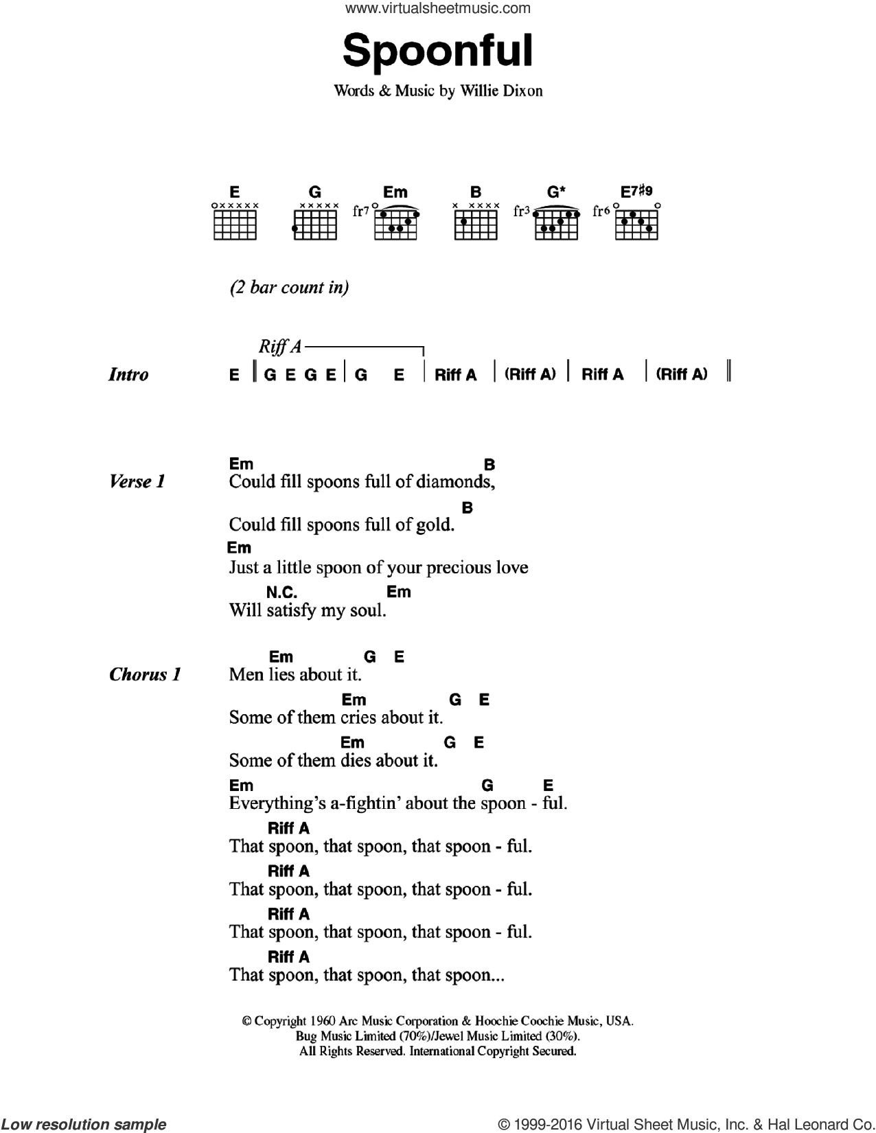 Spoonful sheet music for guitar (chords) by Cream and Willie Dixon, intermediate skill level