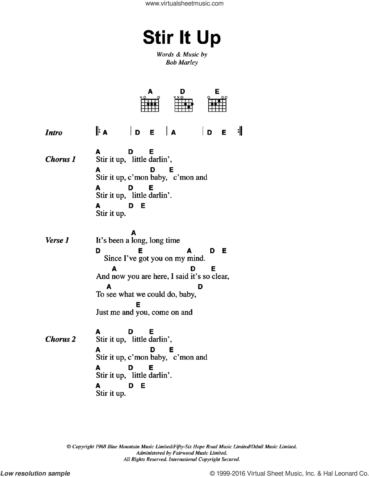 Stir It Up sheet music for guitar (chords) by Bob Marley. Score Image Preview.