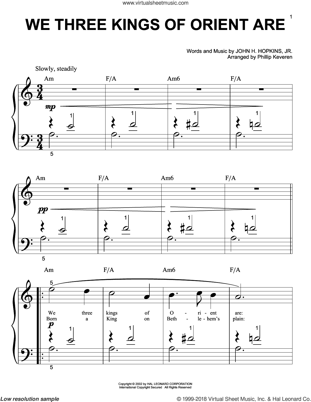 We Three Kings Of Orient Are sheet music for piano solo (big note book) by John H. Hopkins, Jr. and Phillip Keveren. Score Image Preview.