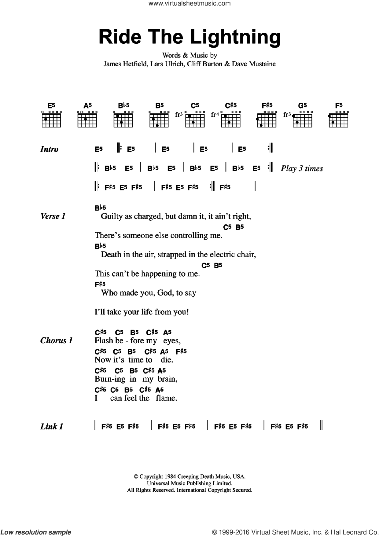Ride The Lightning sheet music for guitar (chords) by Metallica. Score Image Preview.