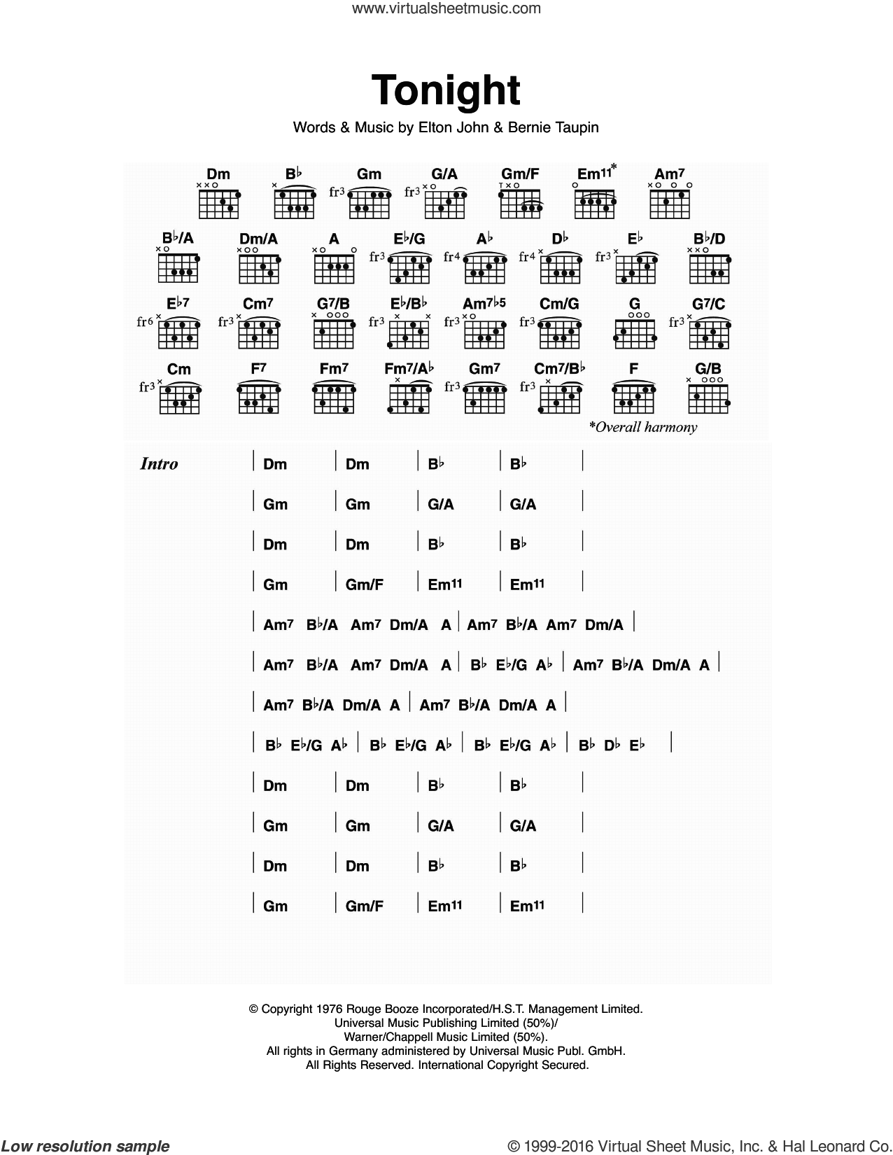 Tonight sheet music for guitar (chords) by Elton John and Bernie Taupin, intermediate guitar (chords). Score Image Preview.