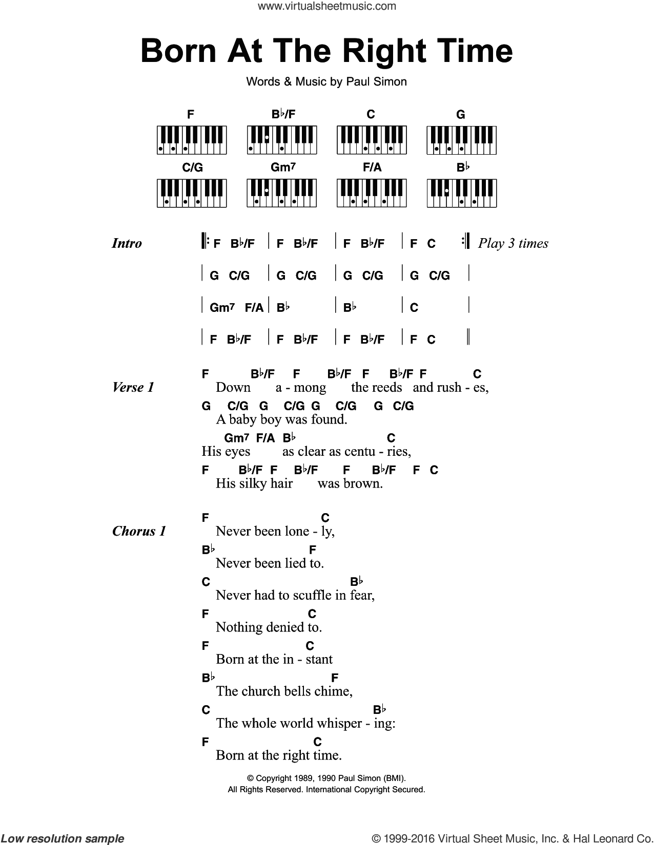 Born At The Right Time sheet music for piano solo (chords, lyrics, melody) by Paul Simon. Score Image Preview.