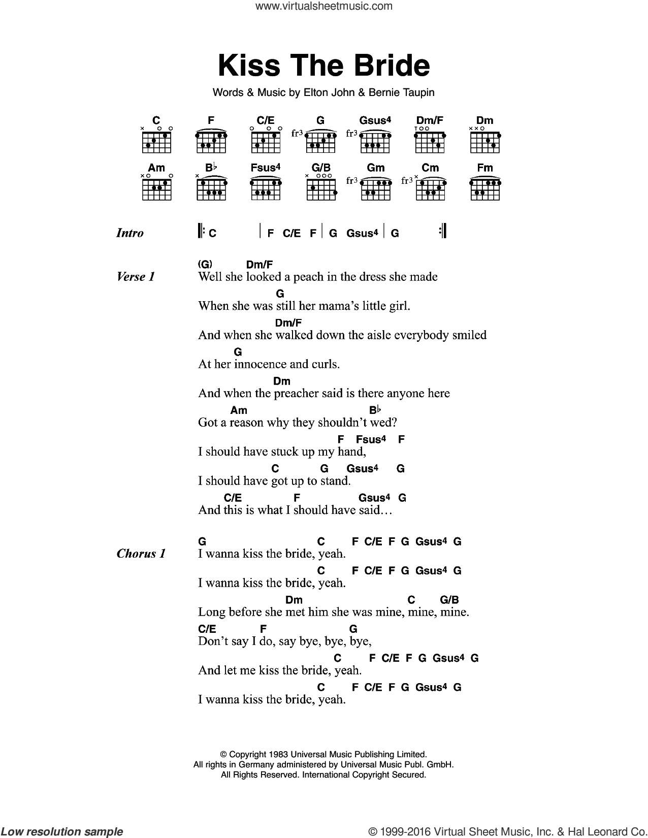 Kiss The Bride sheet music for guitar (chords) by Bernie Taupin and Elton John. Score Image Preview.