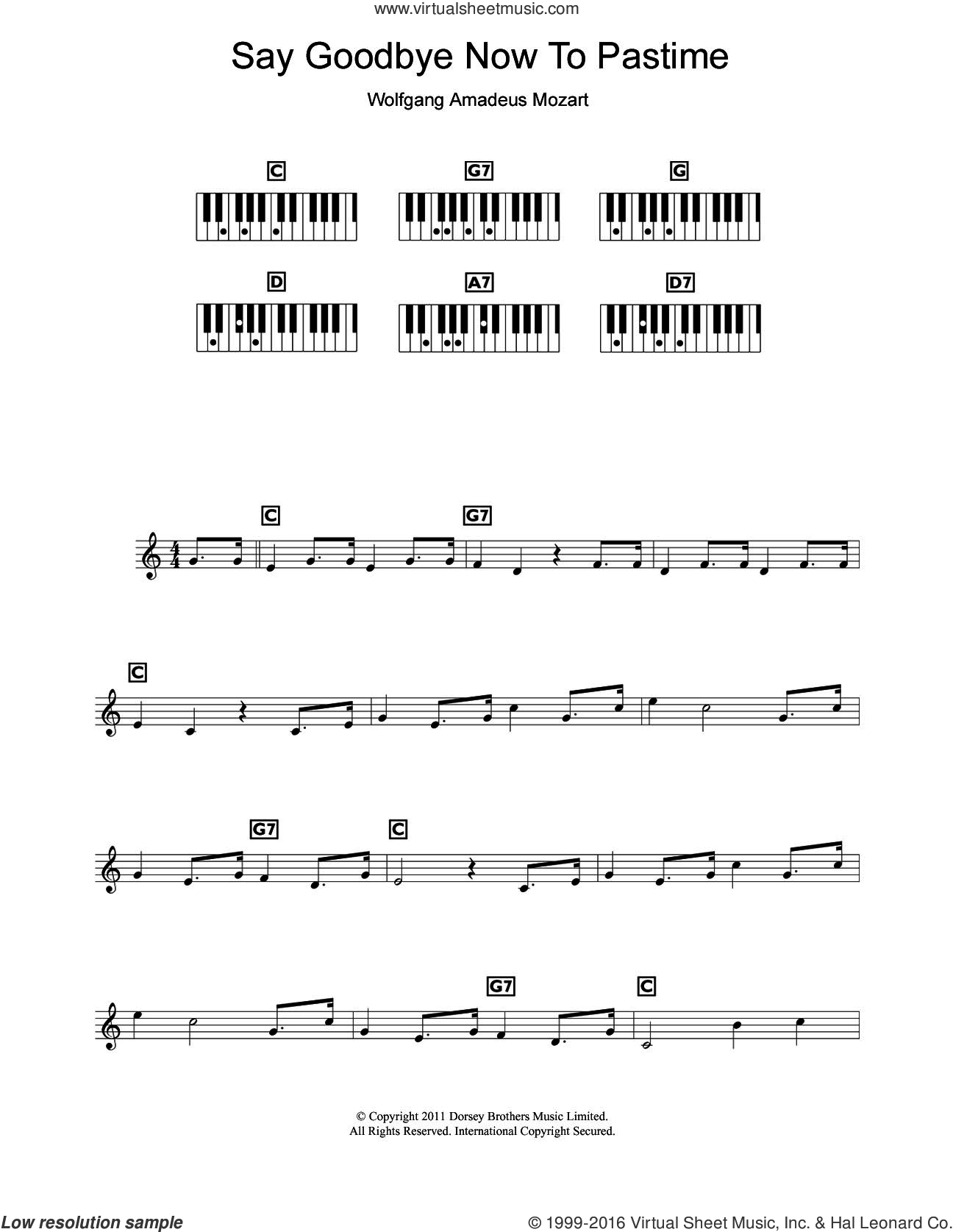 Mozart - Say Goodbye Now To Pastime (from The Marriage Of Figaro) sheet  music for piano solo (chords, lyrics, melody) v2