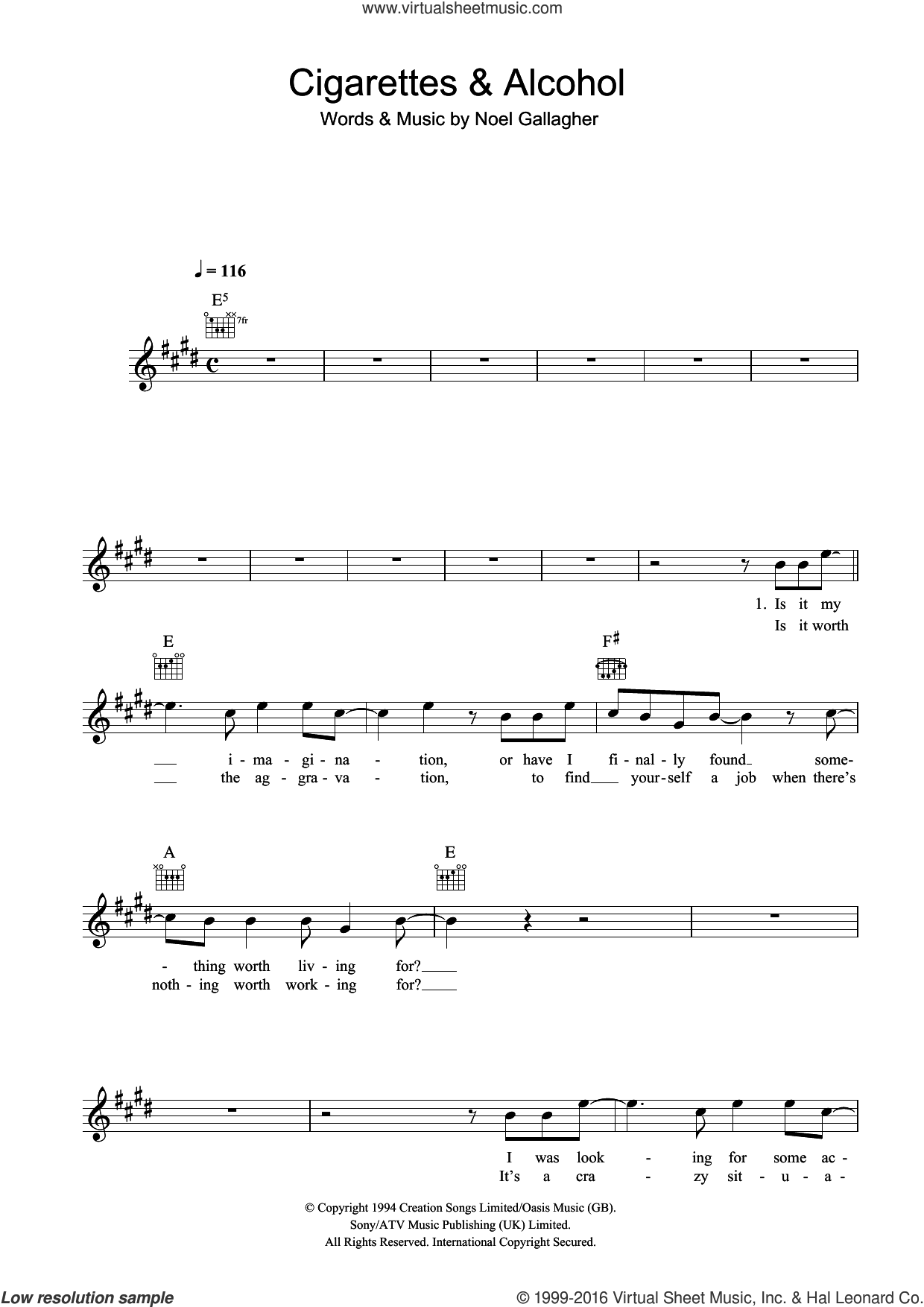 Cigarettes and Alcohol sheet music for voice and other instruments (fake book) by Oasis and Noel Gallagher, intermediate skill level