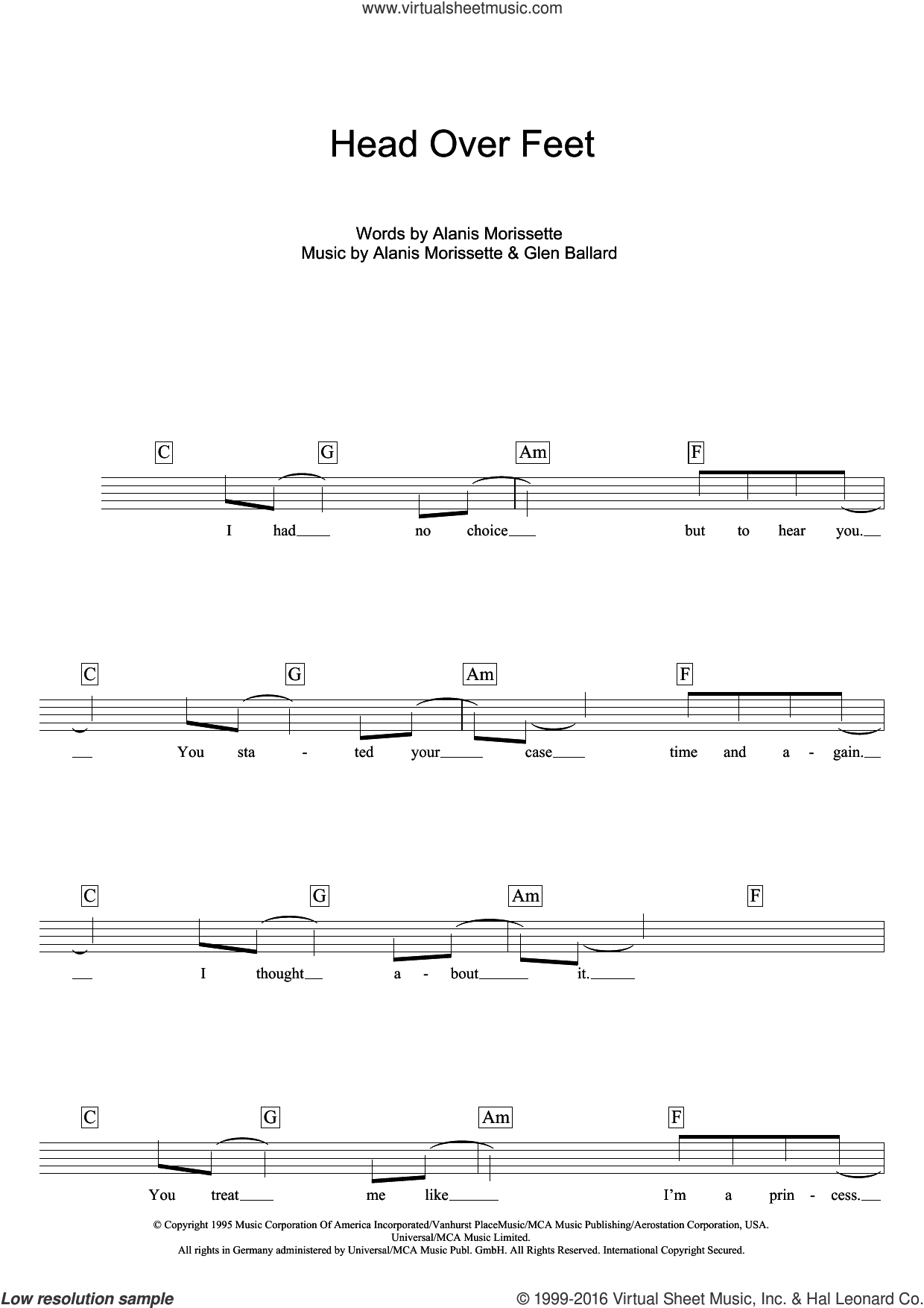 Head Over Feet sheet music for voice and other instruments (fake book) by Glen Ballard and Alanis Morissette. Score Image Preview.