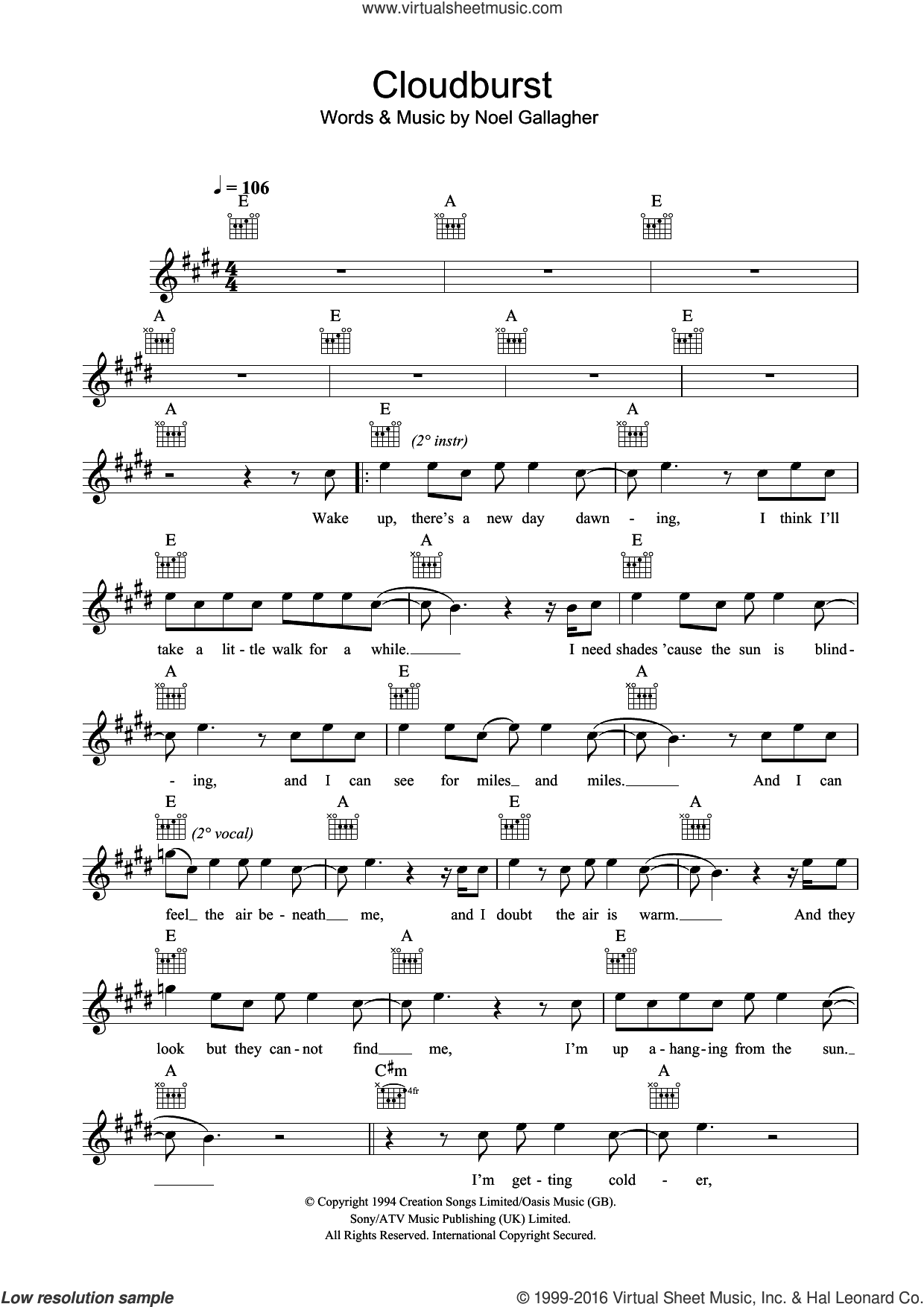 Cloudburst sheet music for voice and other instruments (fake book) by Oasis and Noel Gallagher, intermediate skill level