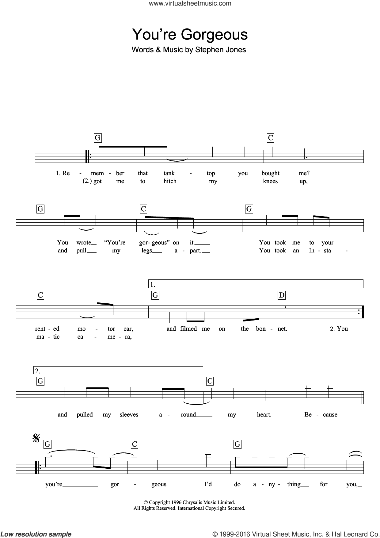 You're Gorgeous sheet music for piano solo (chords, lyrics, melody) by Babybird, Baby Bird and Steve Jones, intermediate piano (chords, lyrics, melody)