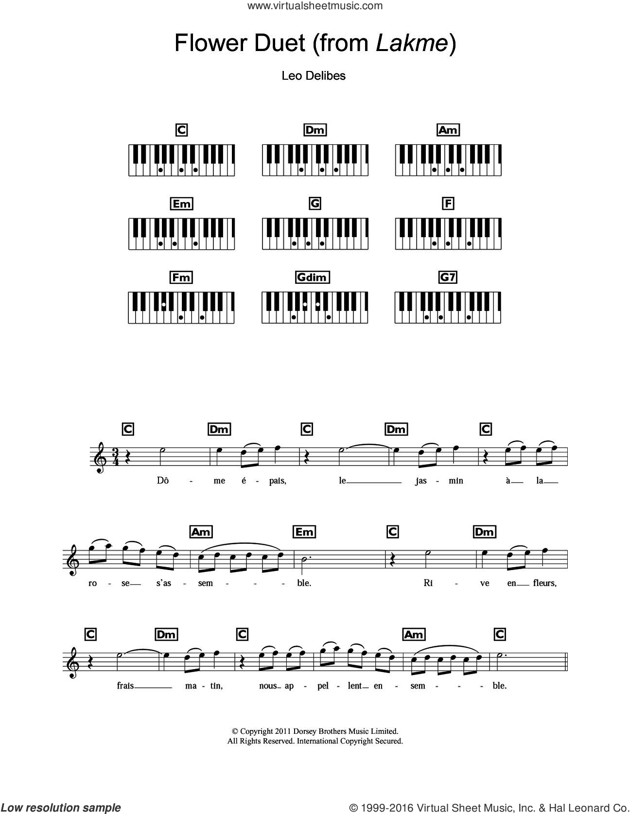 Flower Duet (from Lakme) sheet music for piano solo (chords, lyrics, melody) by Léo Delibes and Leo Delibes, classical score, intermediate piano (chords, lyrics, melody)