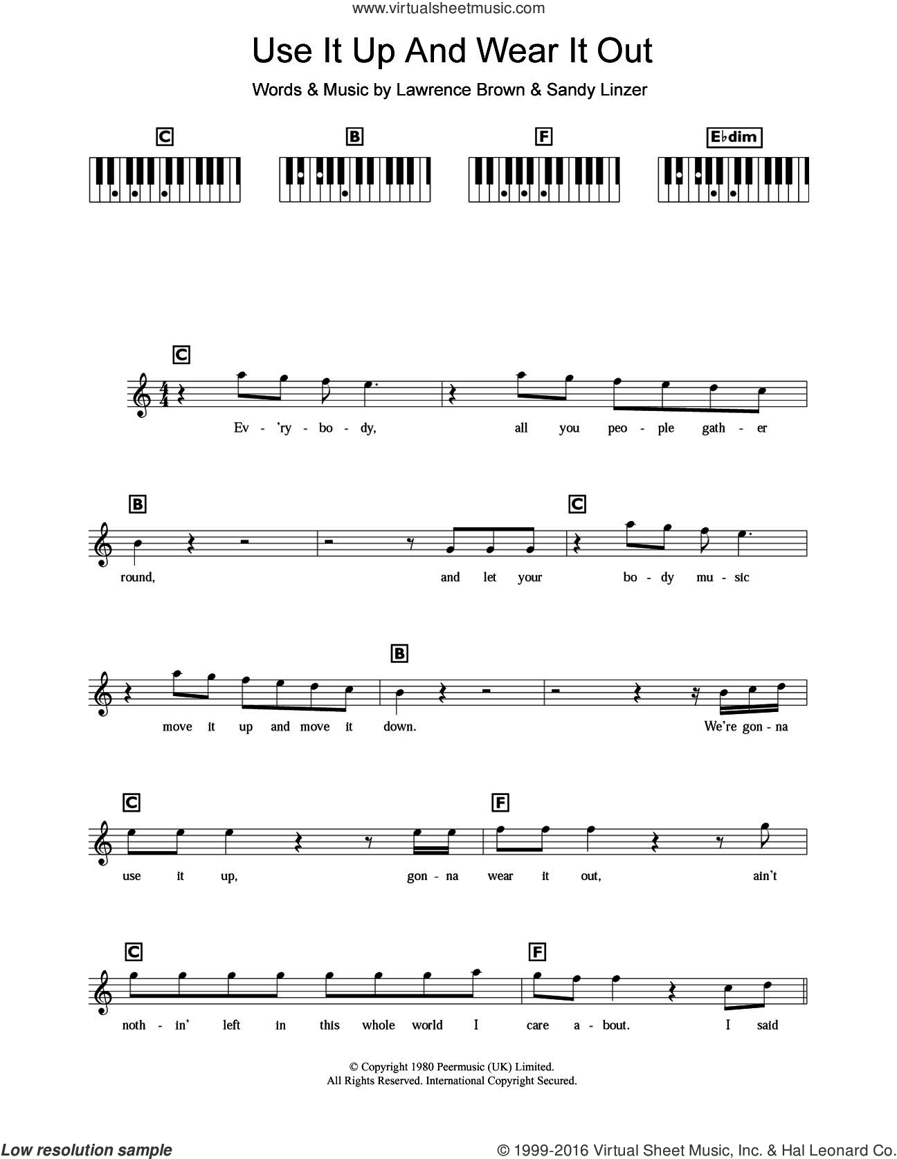 Use It Up And Wear It Out sheet music for piano solo (chords, lyrics, melody) by Odyssey and Sandy Linzer, intermediate piano (chords, lyrics, melody). Score Image Preview.