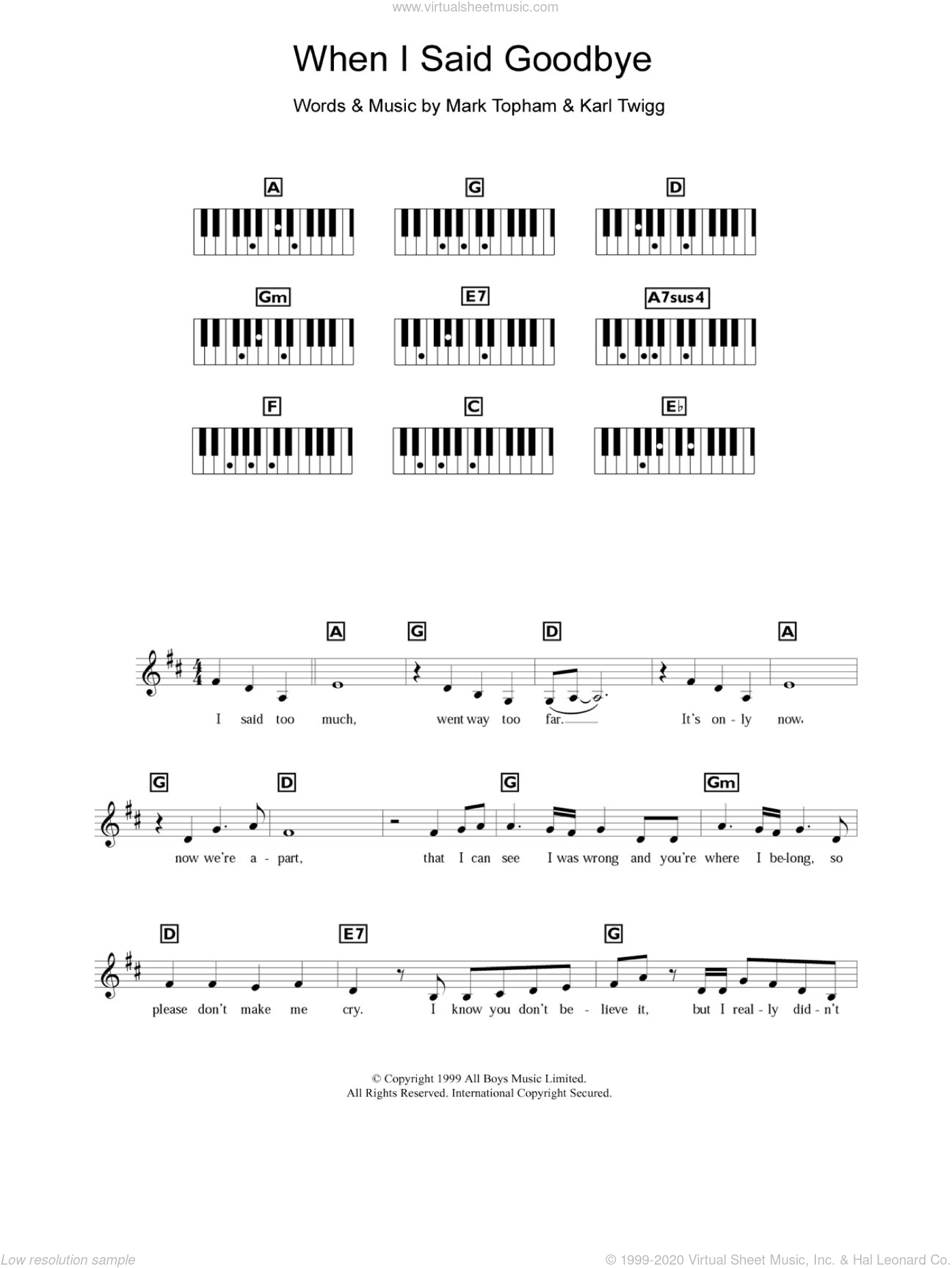 When I Said Goodbye sheet music for piano solo (chords, lyrics, melody) by Steps, Karl Twigg and Mark Topham, intermediate piano (chords, lyrics, melody)