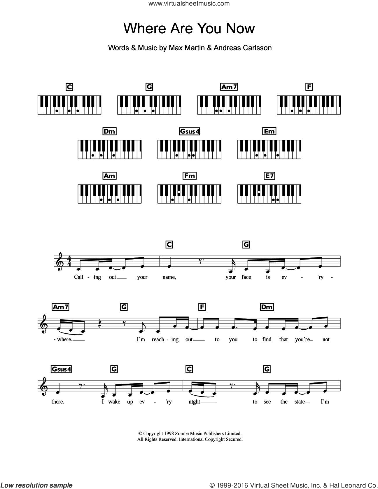 Where Are You Now sheet music for piano solo (chords, lyrics, melody) by Max Martin, Britney Spears and Andreas Carlsson. Score Image Preview.