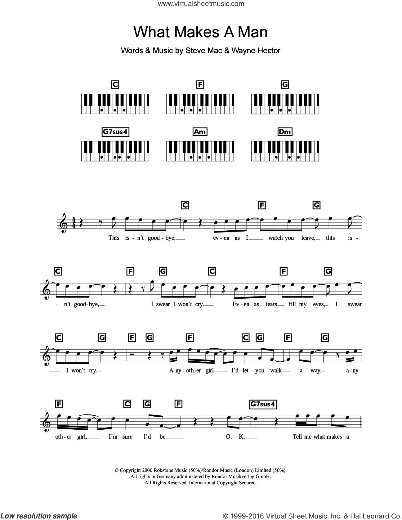 What Makes A Man sheet music for piano solo (chords, lyrics, melody) by Westlife, Steve Mac and Wayne Hector, intermediate piano (chords, lyrics, melody). Score Image Preview.