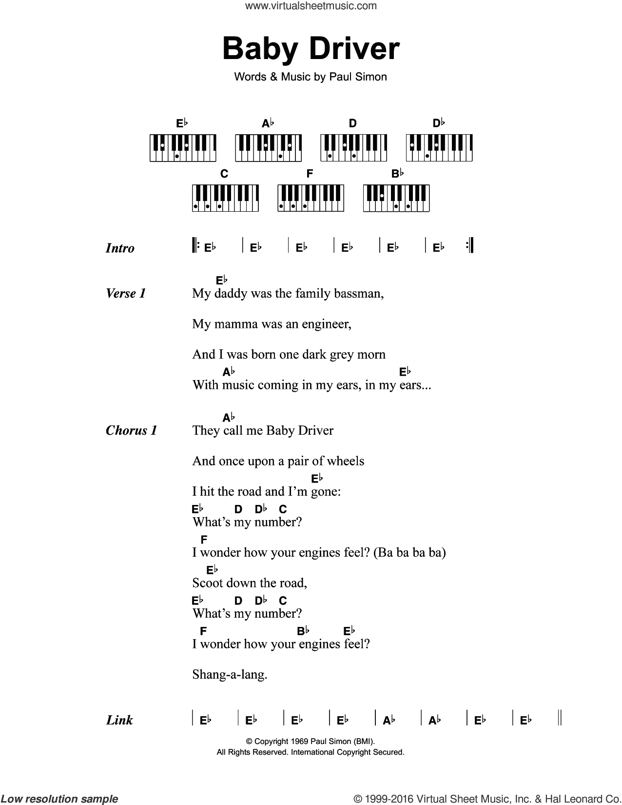 Baby Driver sheet music for piano solo (chords, lyrics, melody) by Paul Simon and Simon & Garfunkel. Score Image Preview.