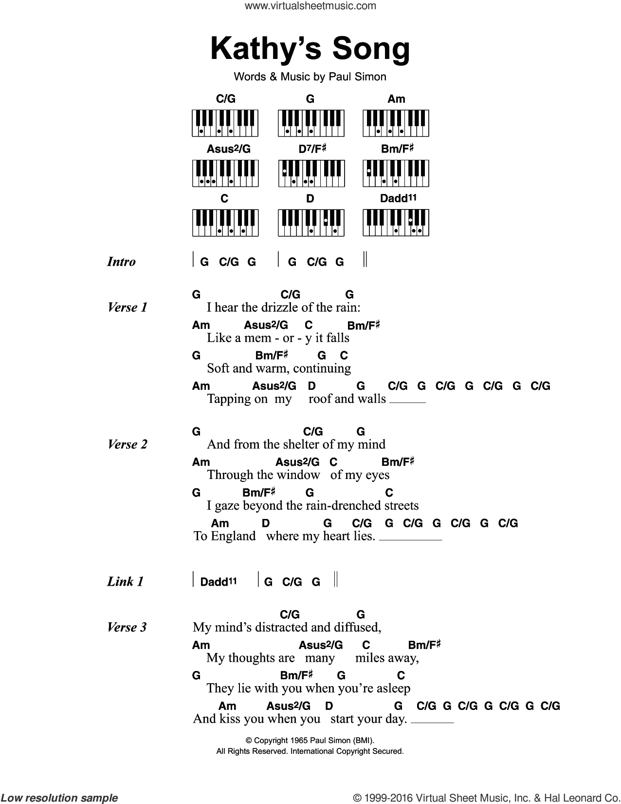 Kathy's Song sheet music for piano solo (chords, lyrics, melody) by Simon & Garfunkel and Paul Simon, intermediate piano (chords, lyrics, melody)