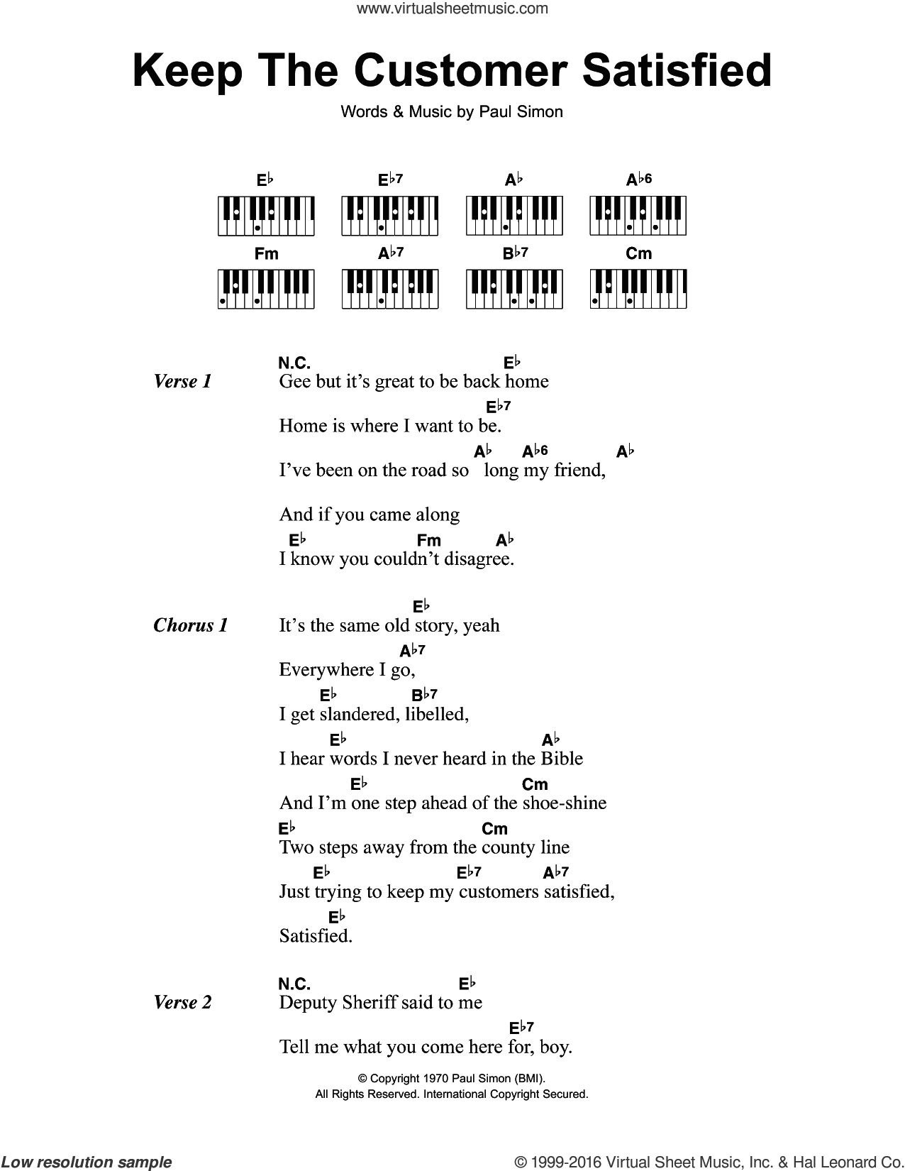 Keep The Customer Satisfied sheet music for piano solo (chords, lyrics, melody) by Simon & Garfunkel and Paul Simon, intermediate piano (chords, lyrics, melody)