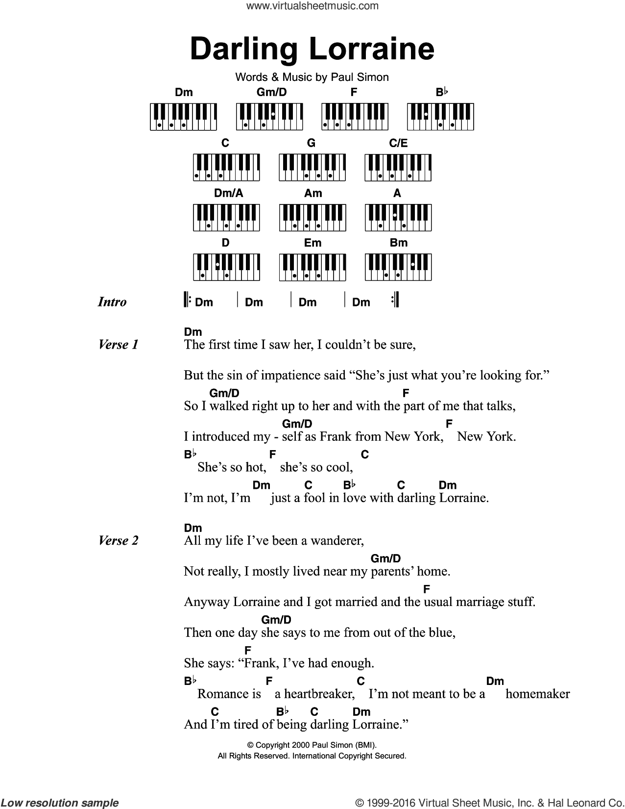 Darling Lorraine sheet music for piano solo (chords, lyrics, melody) by Paul Simon. Score Image Preview.