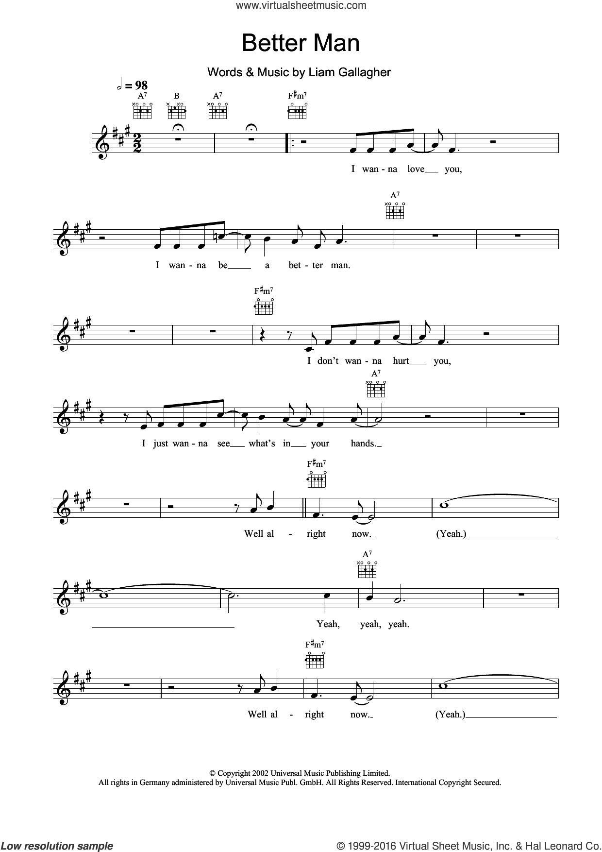 Better Man sheet music for voice and other instruments (fake book) by Liam Gallagher and Oasis. Score Image Preview.
