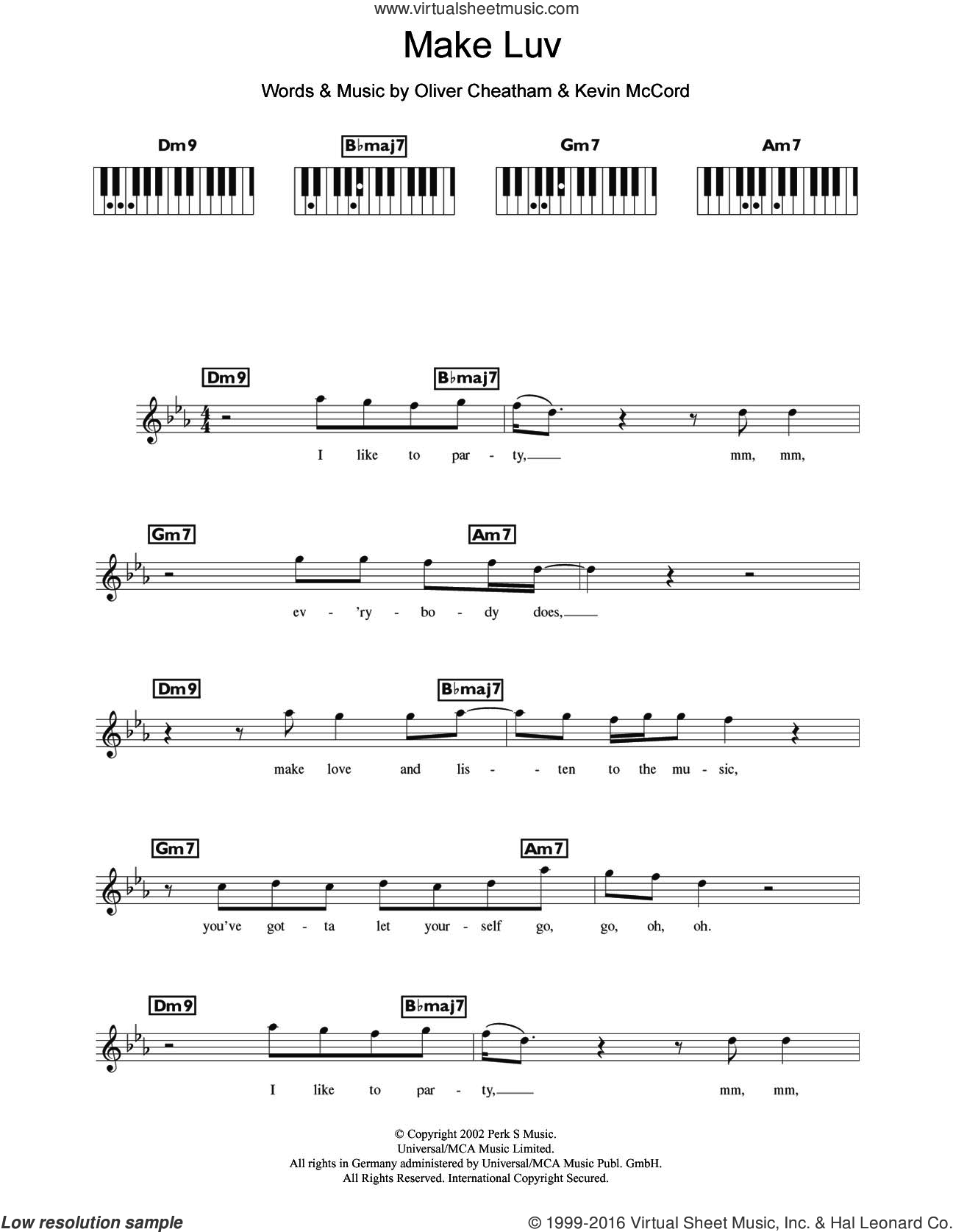 Make Luv (featuring Oliver Cheatham) sheet music for piano solo (chords, lyrics, melody) by Room 5, Kevin McCord and Oliver Cheatham, intermediate piano (chords, lyrics, melody). Score Image Preview.