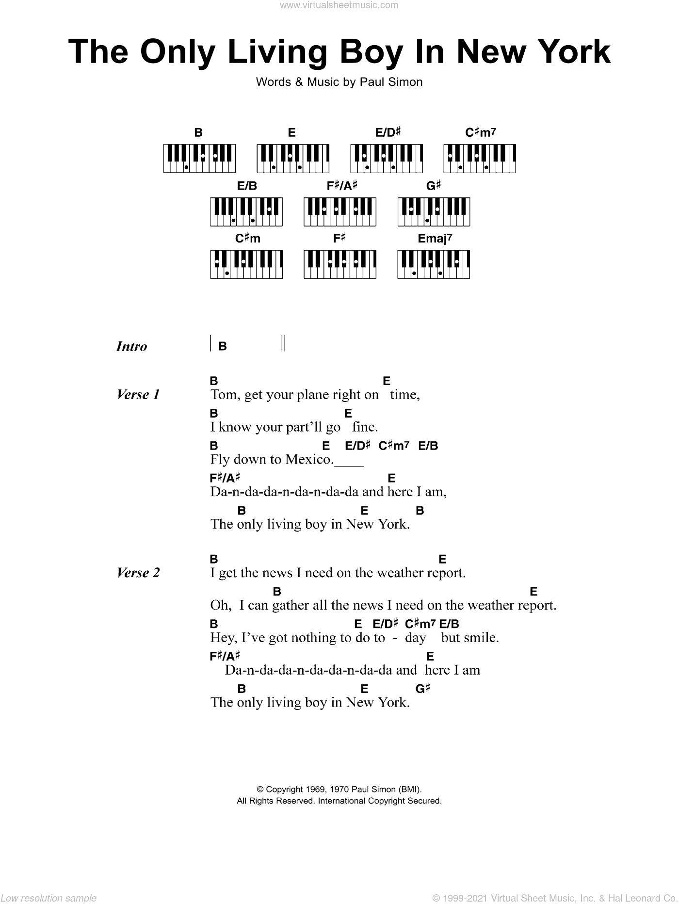 The Only Living Boy In New York sheet music for piano solo (chords, lyrics, melody) by Simon & Garfunkel and Paul Simon, intermediate piano (chords, lyrics, melody)