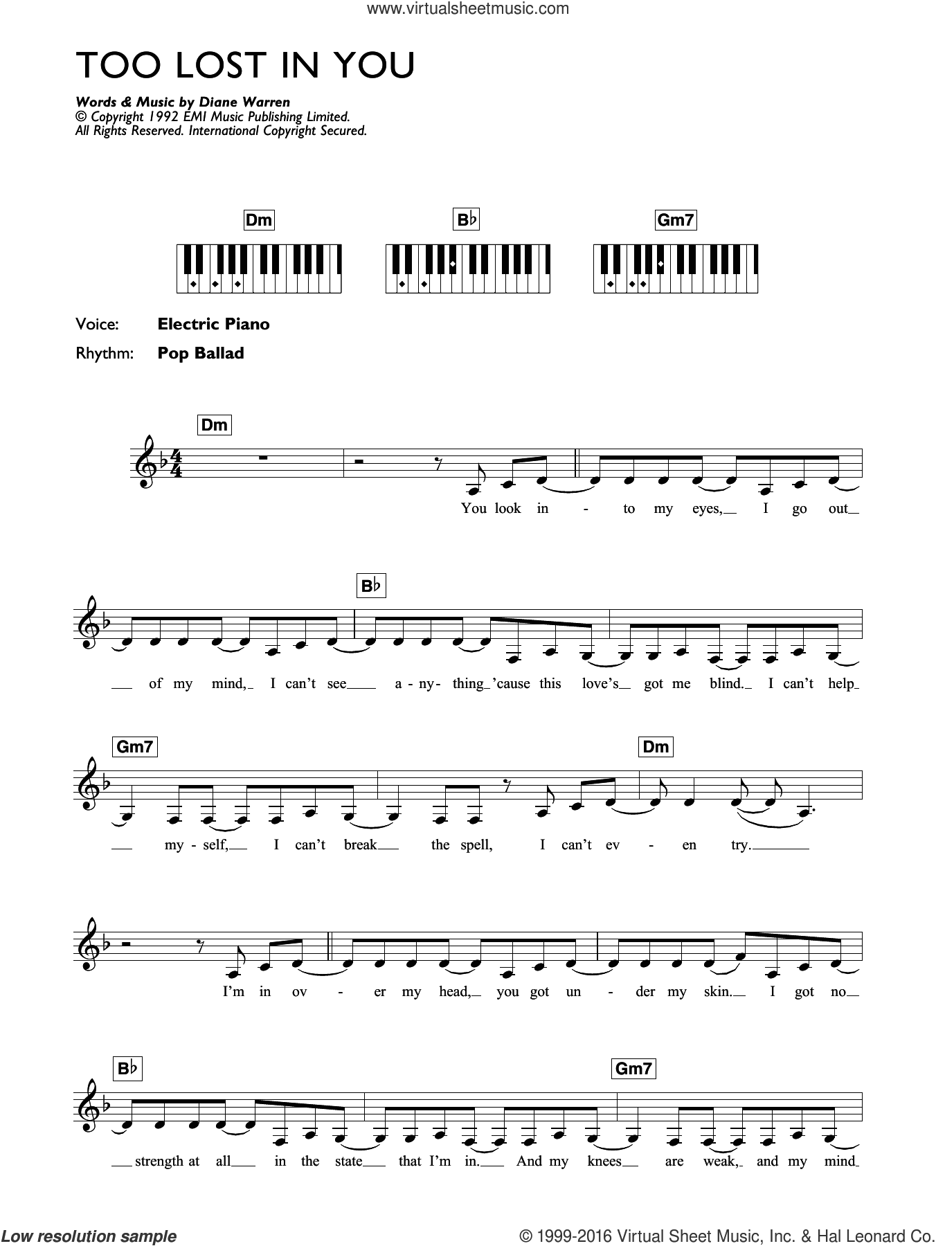 Too Lost In You sheet music for piano solo (chords, lyrics, melody) by Sugababes and Diane Warren, intermediate piano (chords, lyrics, melody)