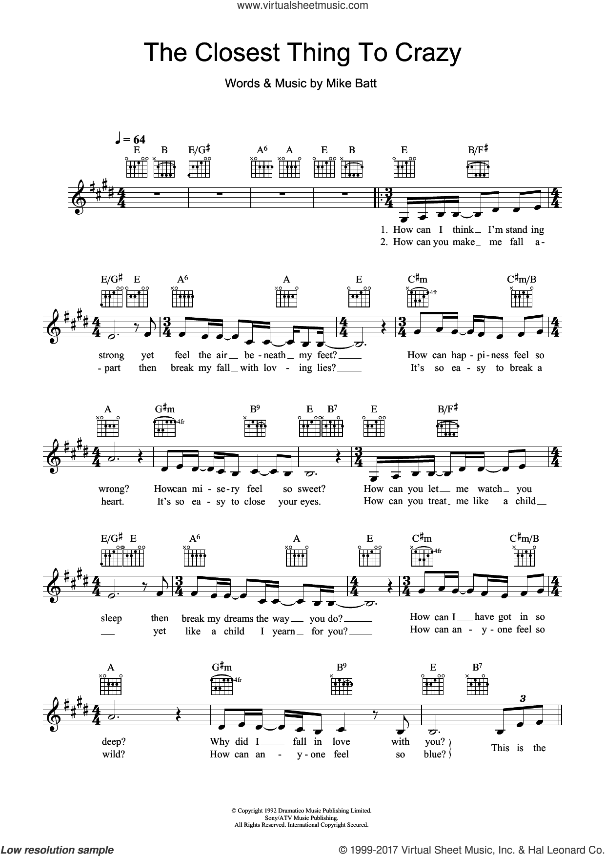 The Closest Thing To Crazy sheet music for voice and other instruments (fake book) by Katie Melua and Mike Batt, intermediate