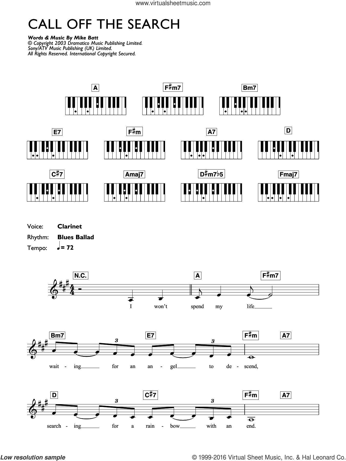 Call Off The Search sheet music for piano solo (chords, lyrics, melody) by Mike Batt and Katie Melua. Score Image Preview.