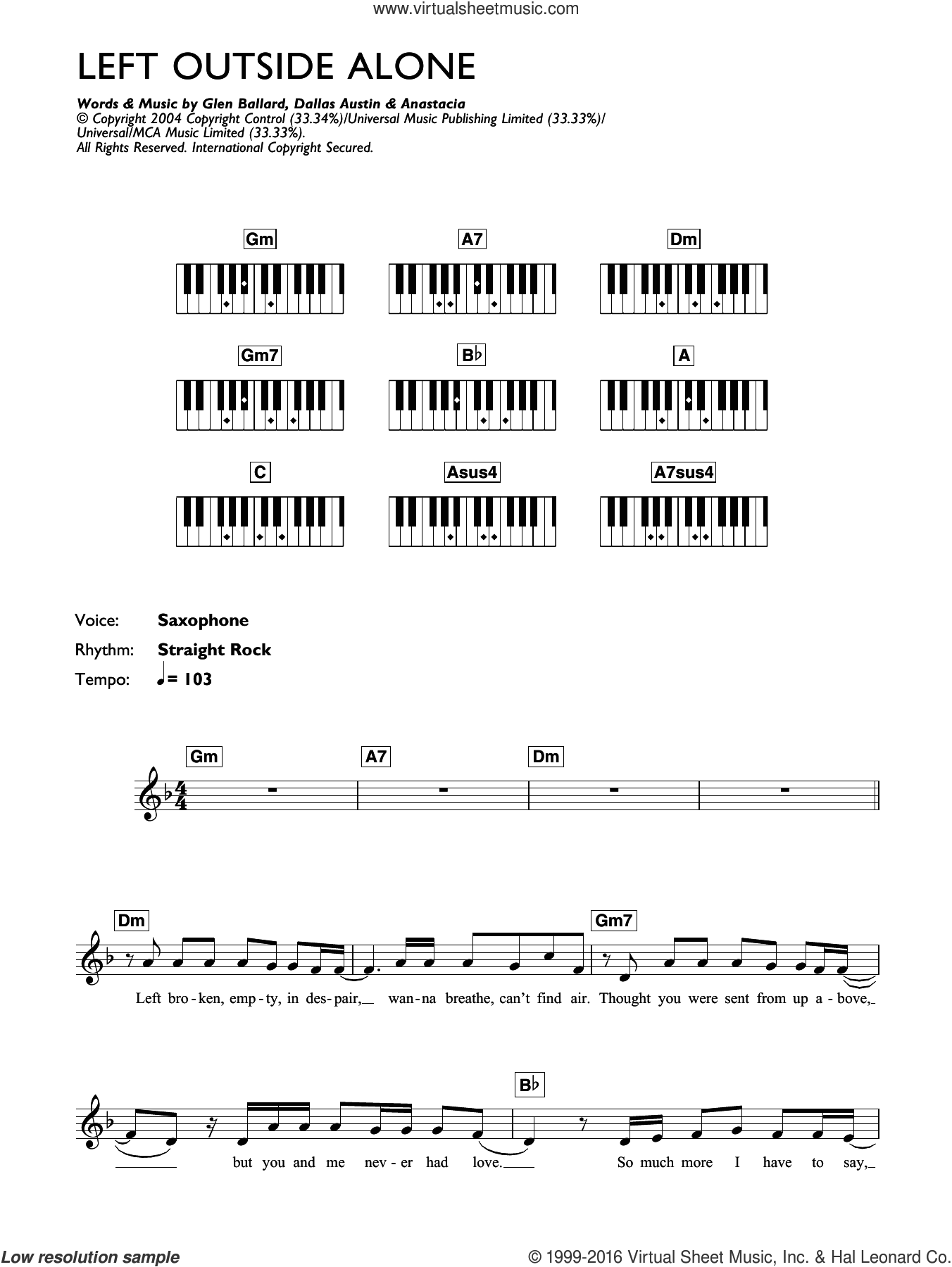 Left Outside Alone sheet music for piano solo (chords, lyrics, melody) by Anastacia, Dallas Austin and Glen Ballard, intermediate piano (chords, lyrics, melody)