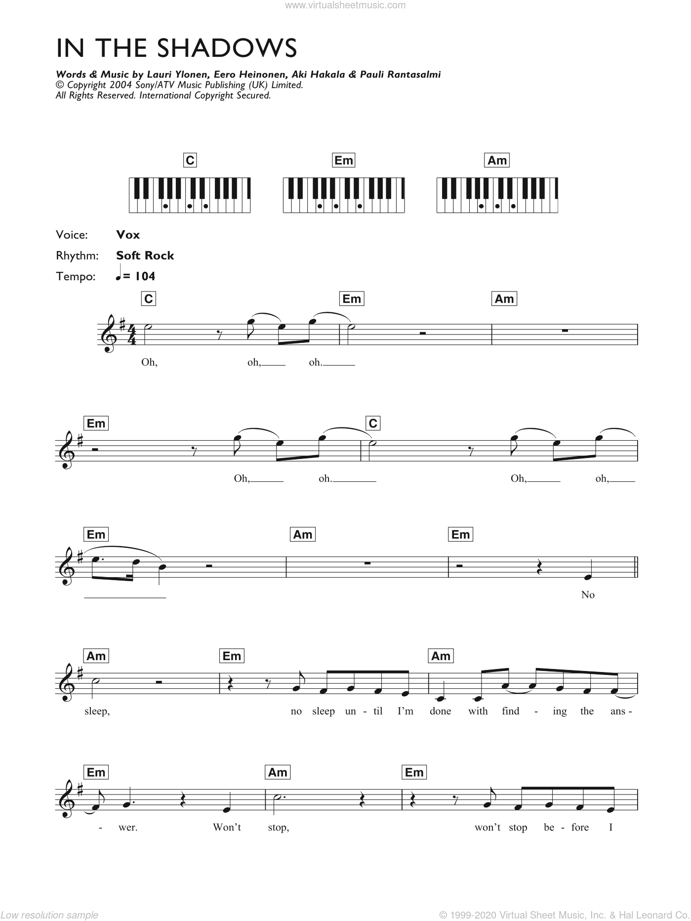In The Shadows sheet music for piano solo (chords, lyrics, melody) by The Rasmus, Aki Hakala, Eero Heinonen, Lauri Ylonen and Pauli Rantasalmi, intermediate piano (chords, lyrics, melody)
