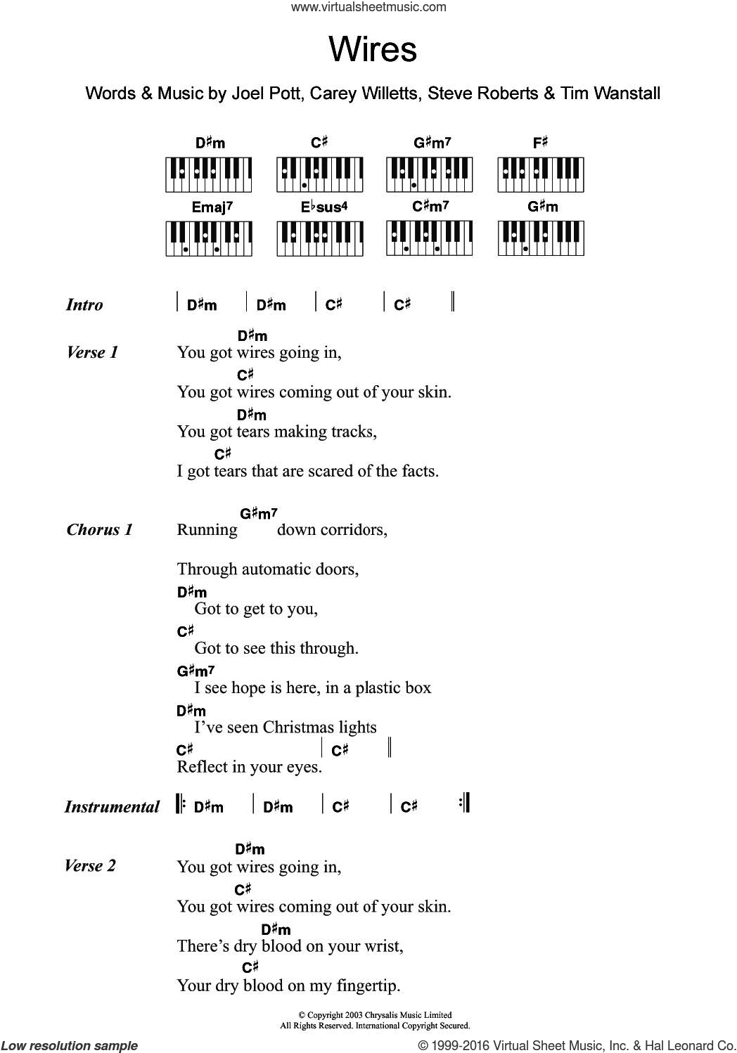 Wires sheet music for piano solo (chords, lyrics, melody) by Athlete, Carey Willetts, Joel Pott, Steve Roberts and Tim Wanstall, intermediate piano (chords, lyrics, melody)