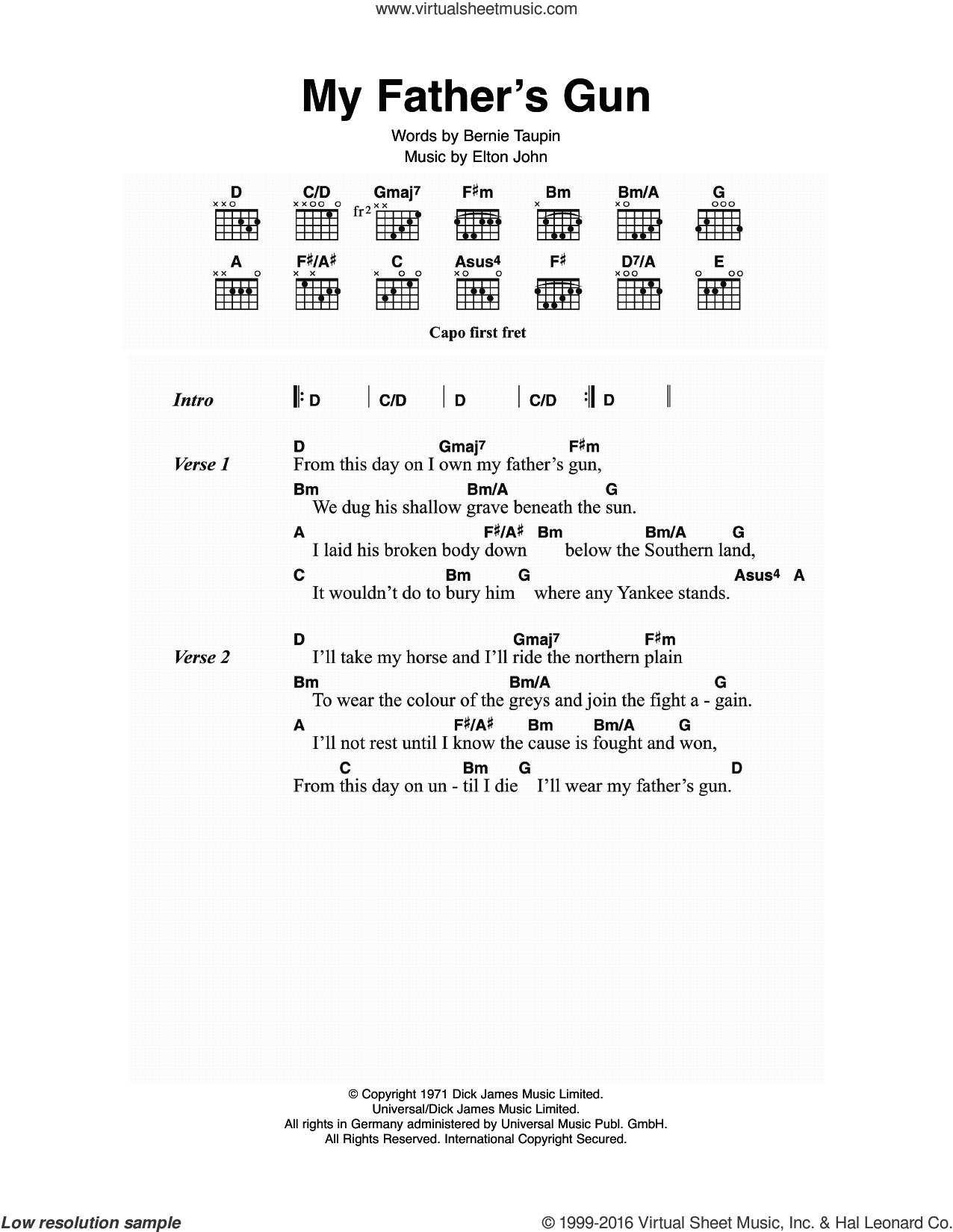 My Father's Gun sheet music for guitar (chords) by Elton John and Bernie Taupin, intermediate guitar (chords). Score Image Preview.