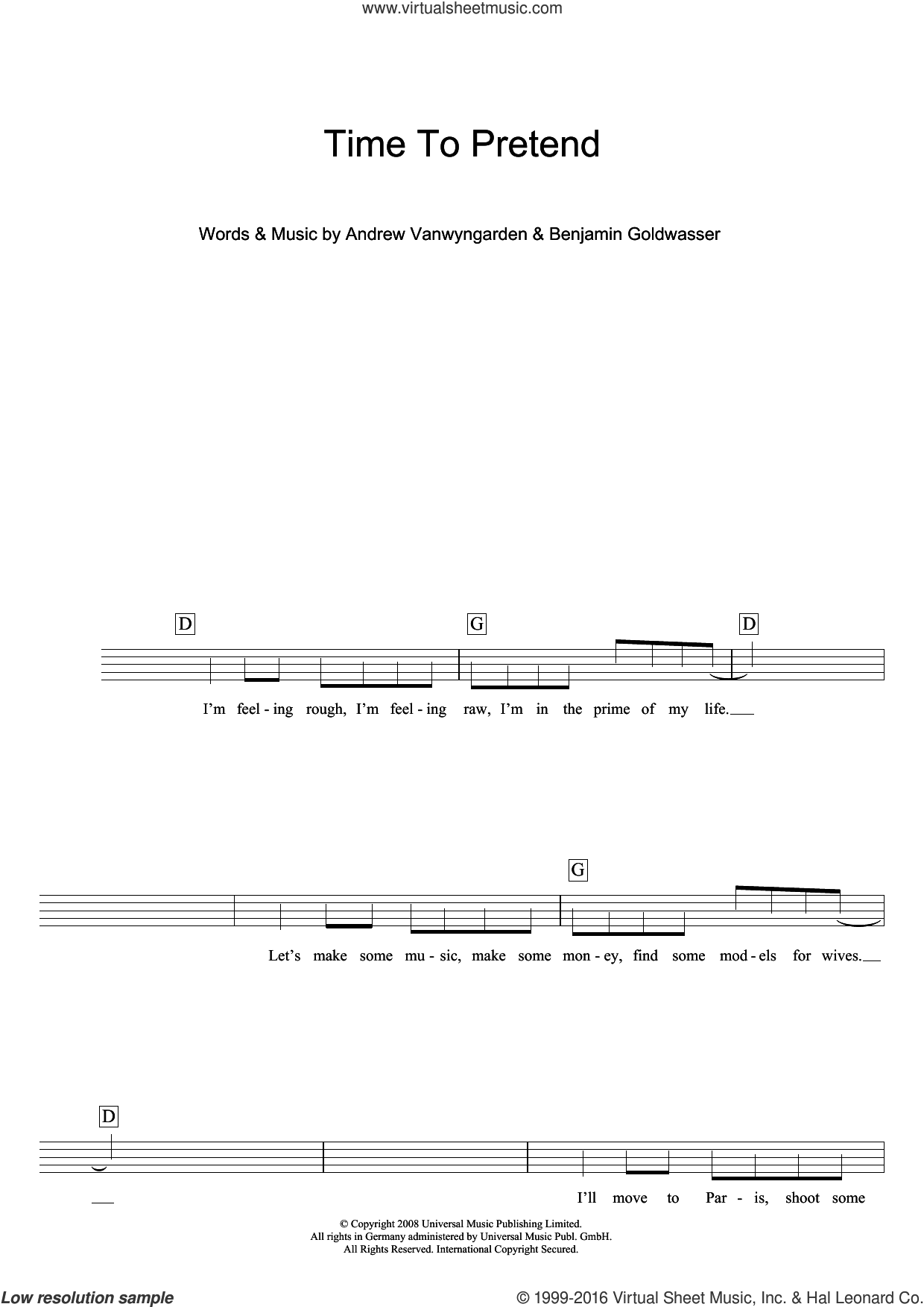 Time To Pretend sheet music for voice and other instruments (fake book) by MGMT, intermediate voice. Score Image Preview.