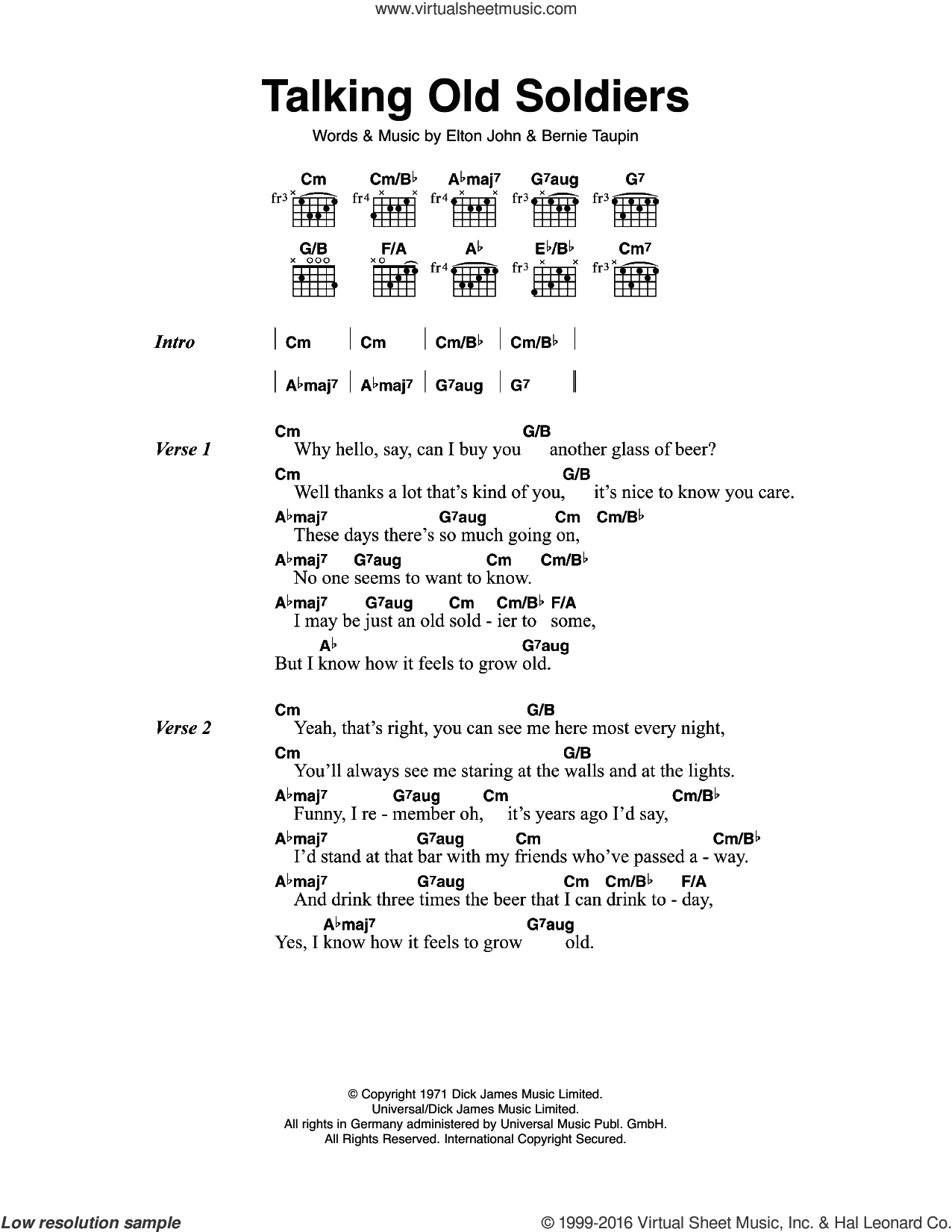 Talking Old Soldiers sheet music for guitar (chords) by Bernie Taupin