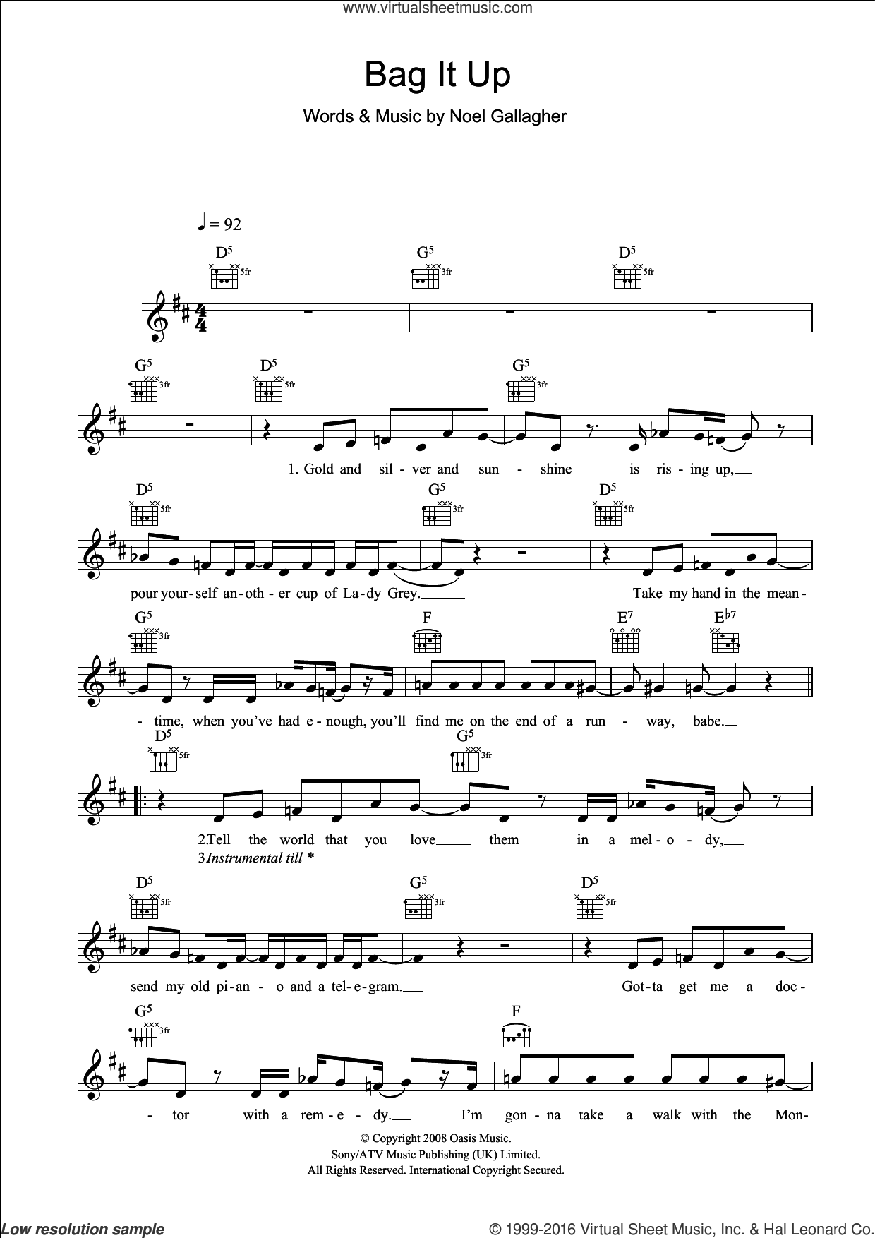 Bag It Up sheet music for voice and other instruments (fake book) by Noel Gallagher and Oasis. Score Image Preview.