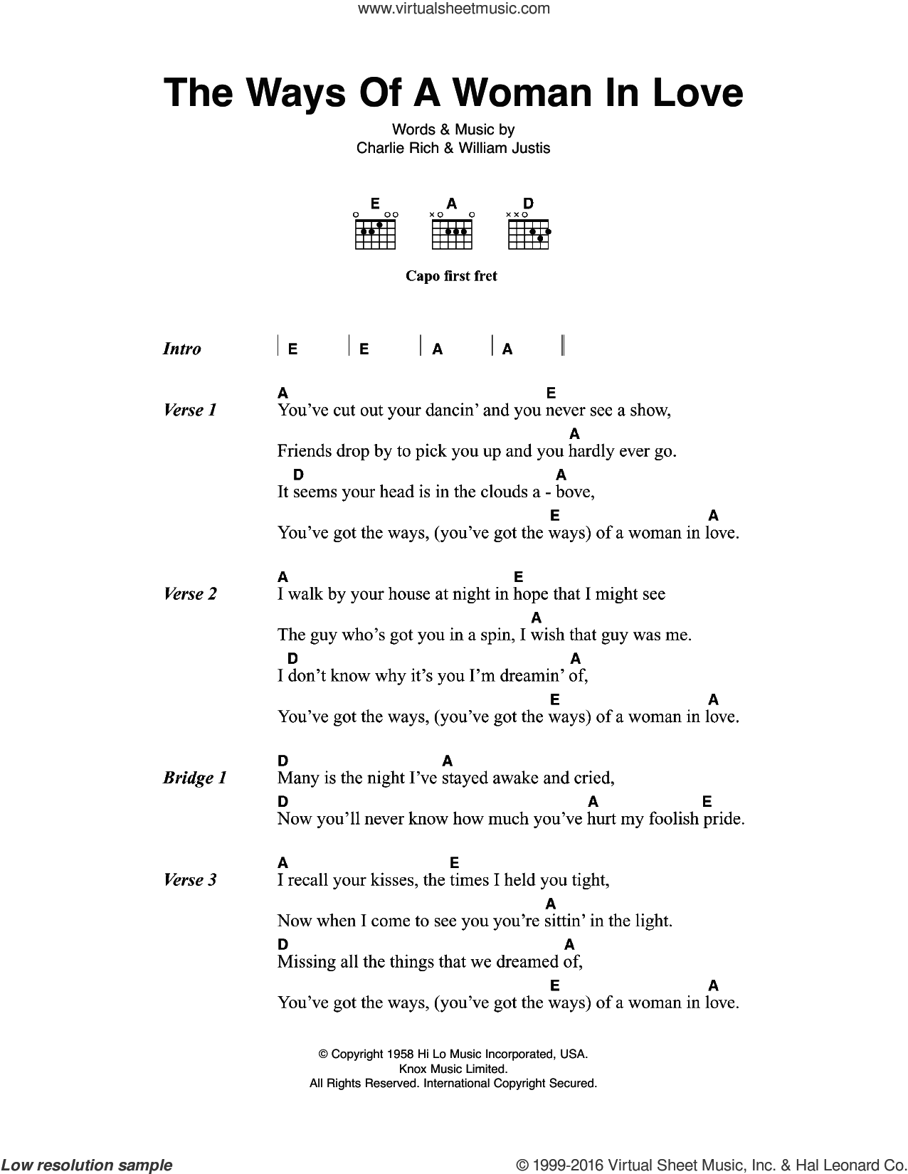 The Ways Of A Woman In Love sheet music for guitar (chords) by Johnny Cash, Charlie Rich and William Justis, intermediate skill level