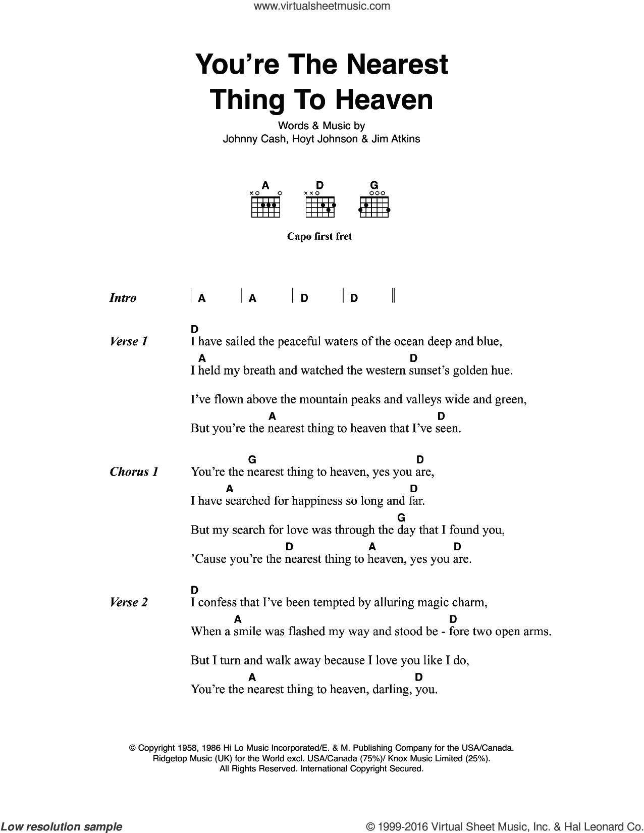 You're The Nearest Thing To Heaven sheet music for guitar (chords) by Jim Atkins
