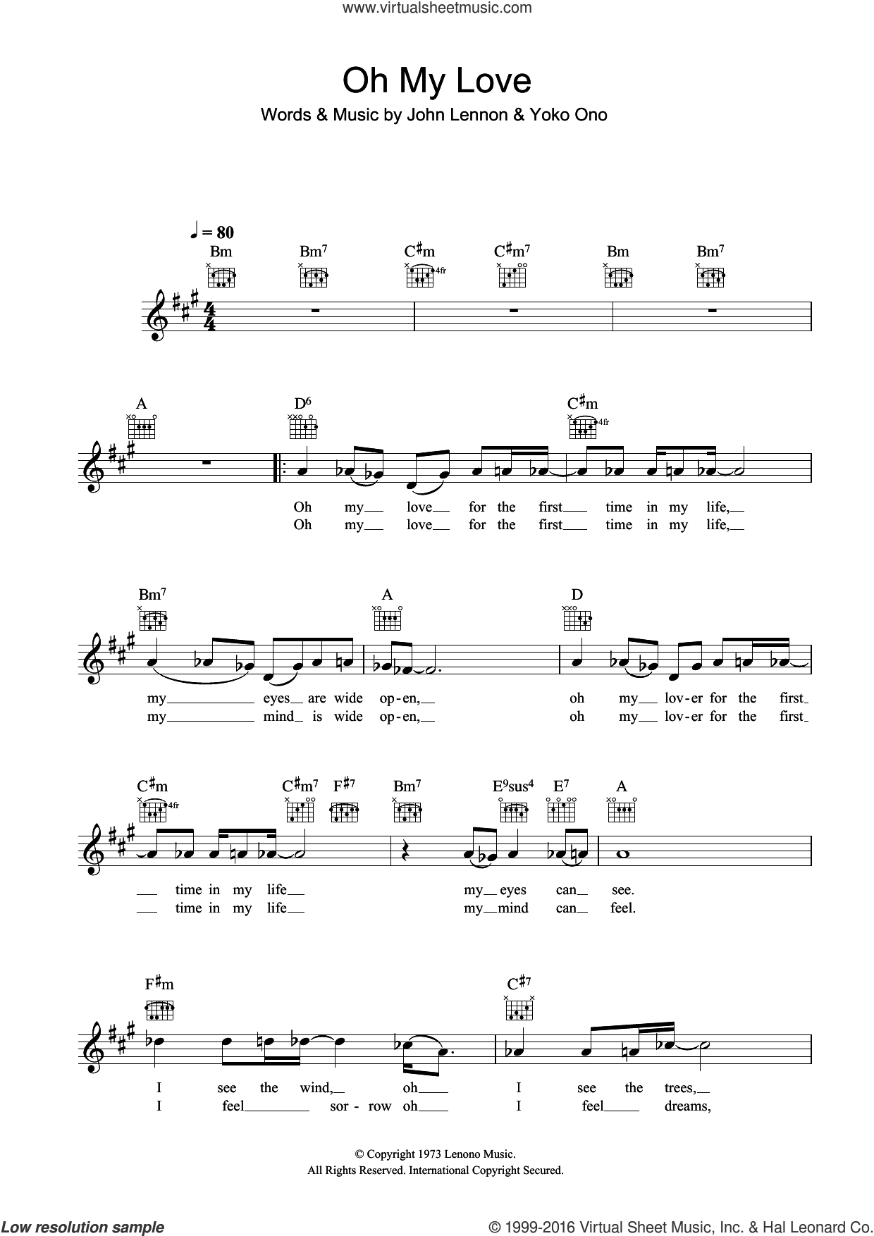 Oh My Love sheet music for voice and other instruments (fake book) by John Lennon and Yoko Ono. Score Image Preview.