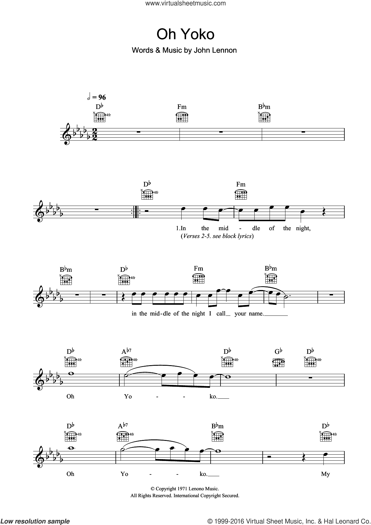 Oh Yoko sheet music for voice and other instruments (fake book) by John Lennon, intermediate skill level