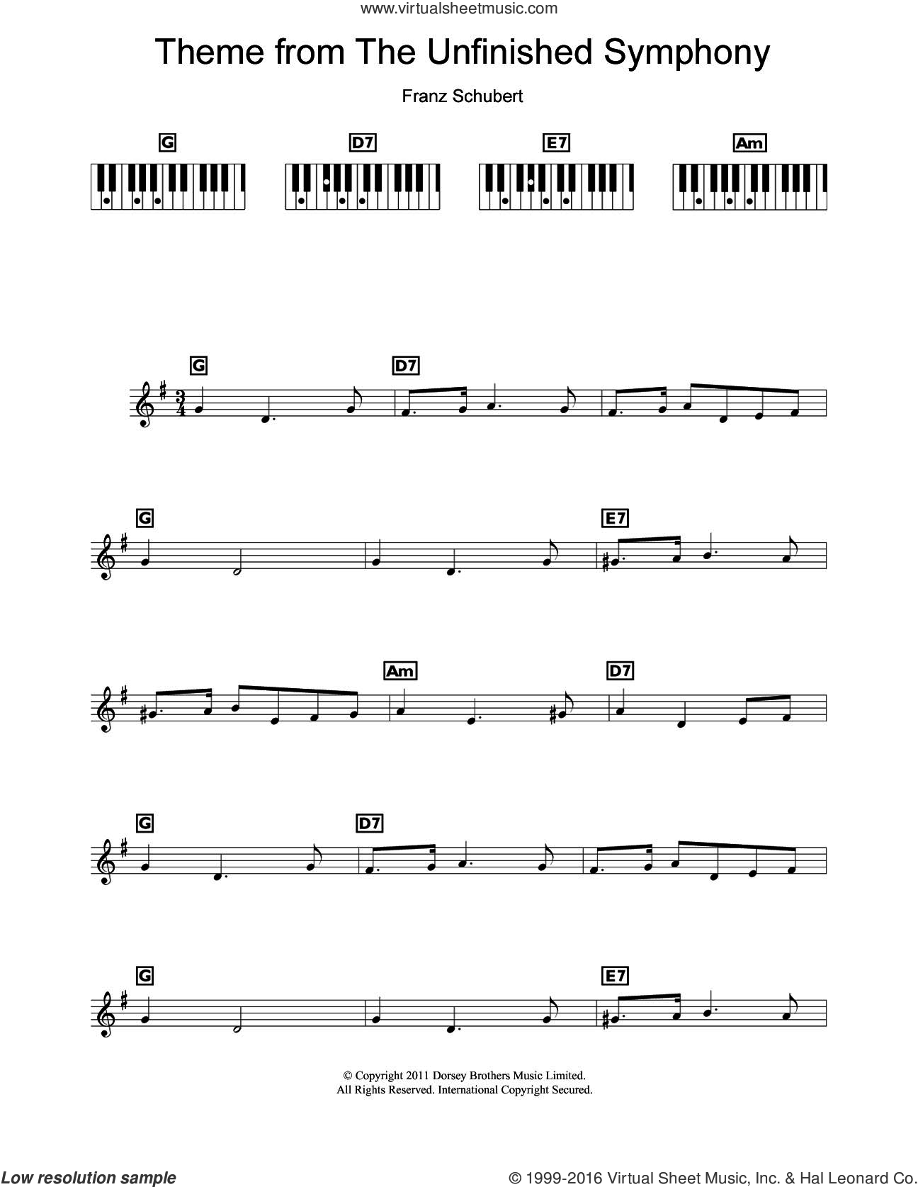 Theme From The Unfinished Symphony sheet music for piano solo (chords, lyrics, melody) by Franz Schubert, classical score, intermediate piano (chords, lyrics, melody)