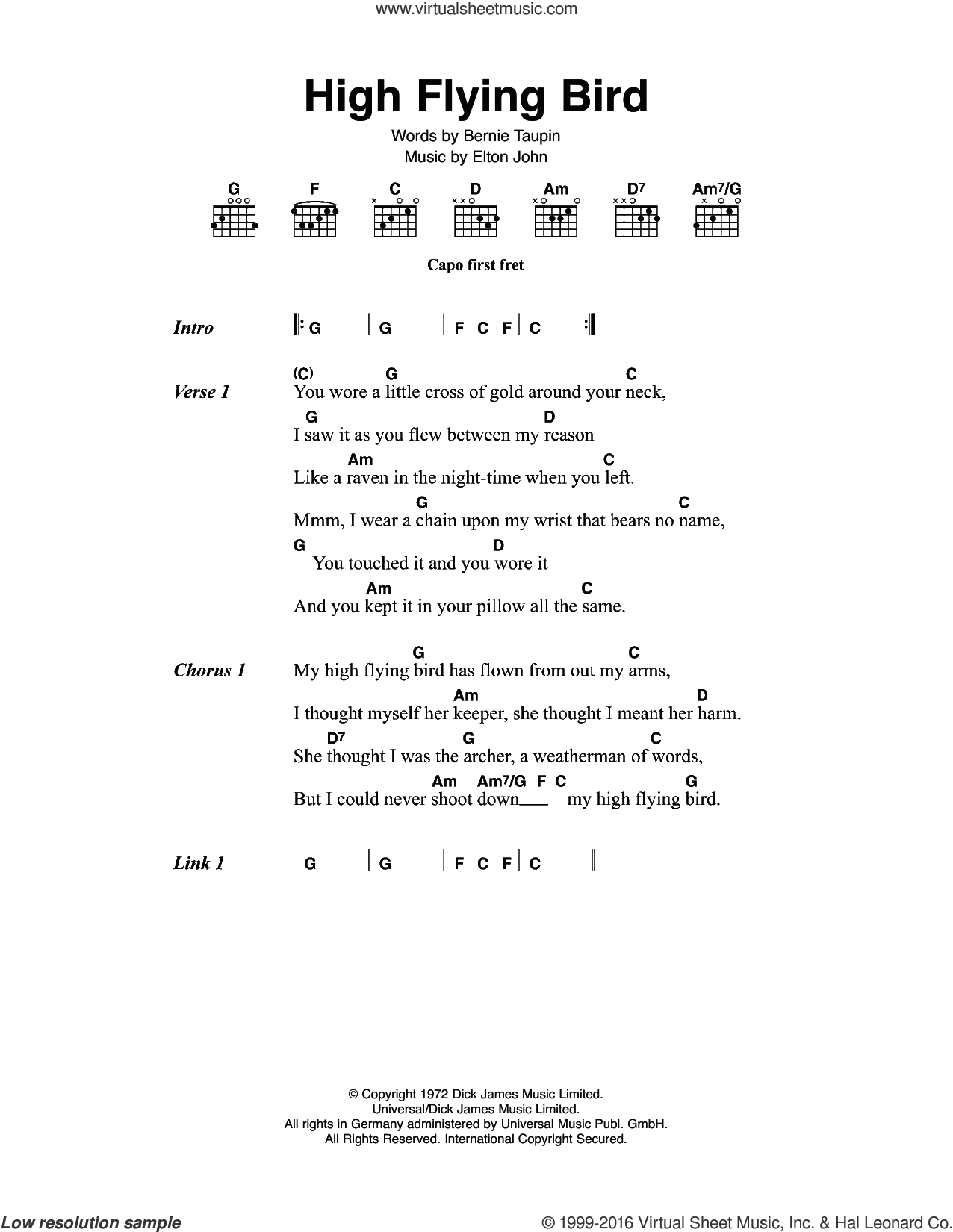 High Flying Bird sheet music for guitar (chords) by Elton John and Bernie Taupin, intermediate. Score Image Preview.