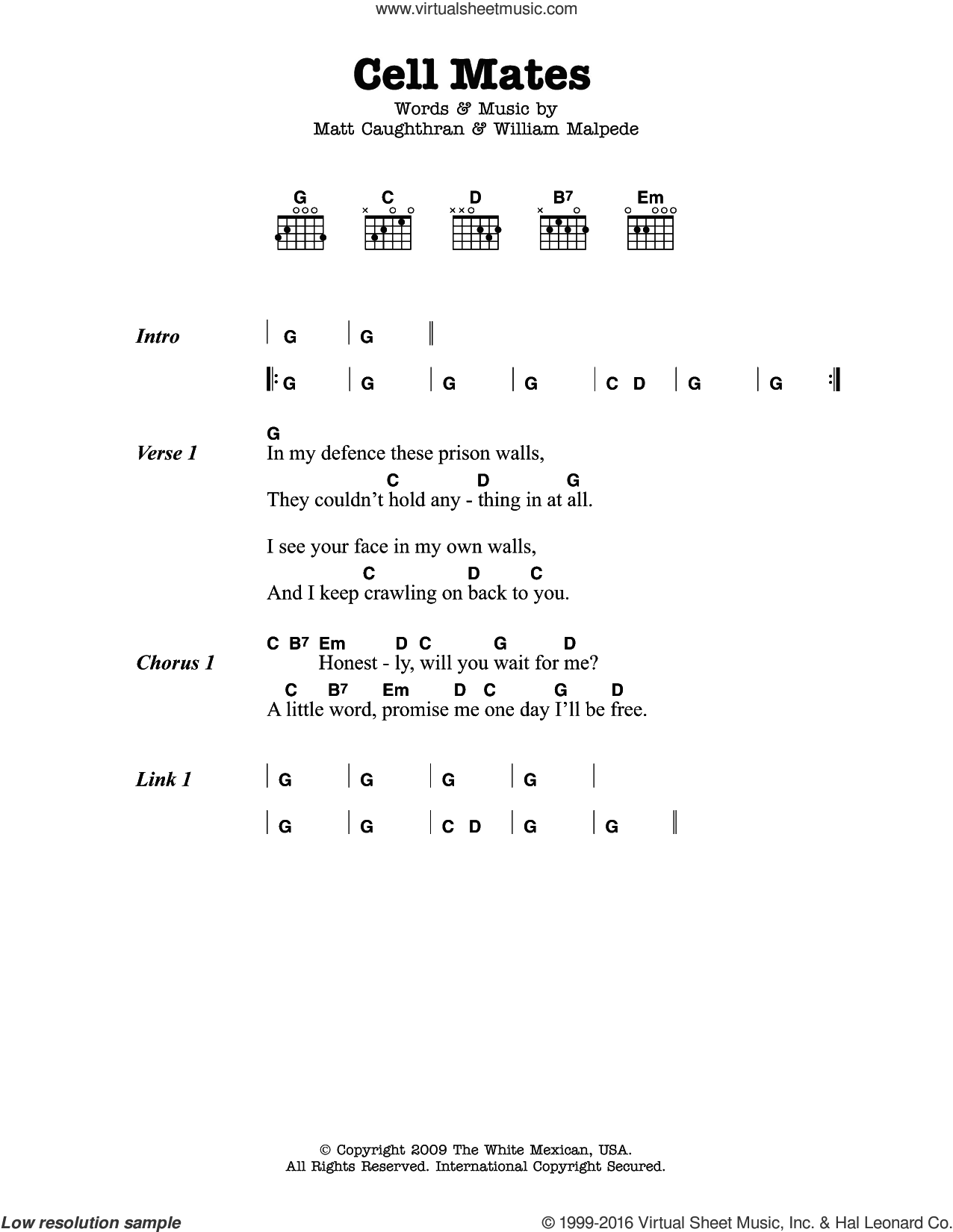 Cell Mates sheet music for guitar (chords) by Mariachi El Bronx, Matt Caughthran and William Malpede, intermediate