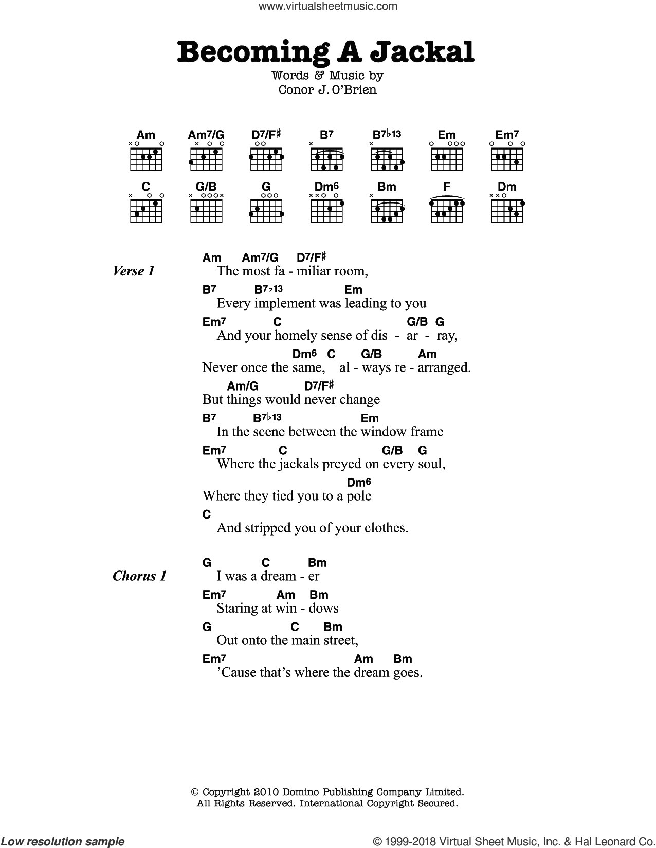 Becoming A Jackal sheet music for guitar (chords) by Villagers, intermediate