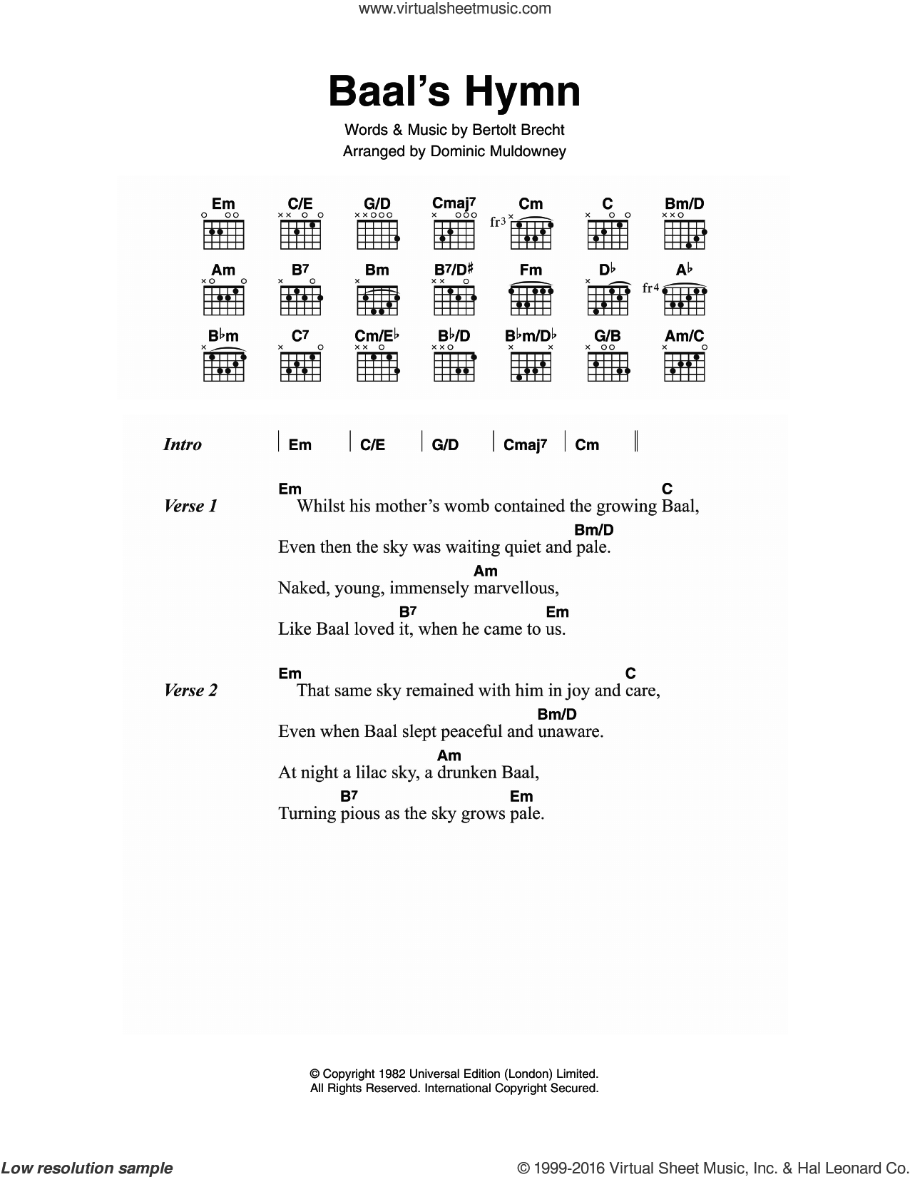 Baal's Hymn sheet music for guitar (chords) by David Bowie and Bertolt Brecht, intermediate