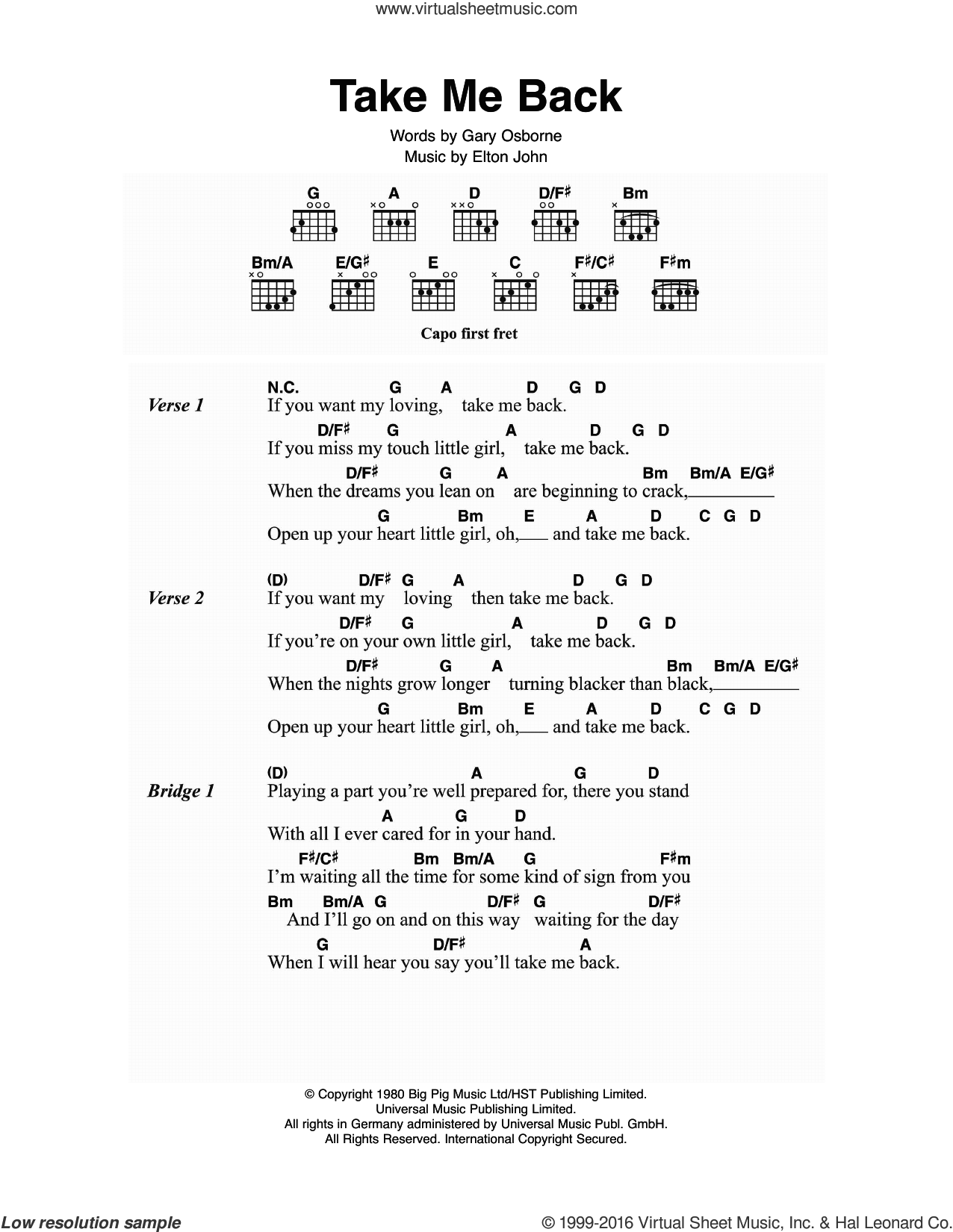 Take Me Back sheet music for guitar (chords) by Elton John, intermediate guitar (chords). Score Image Preview.