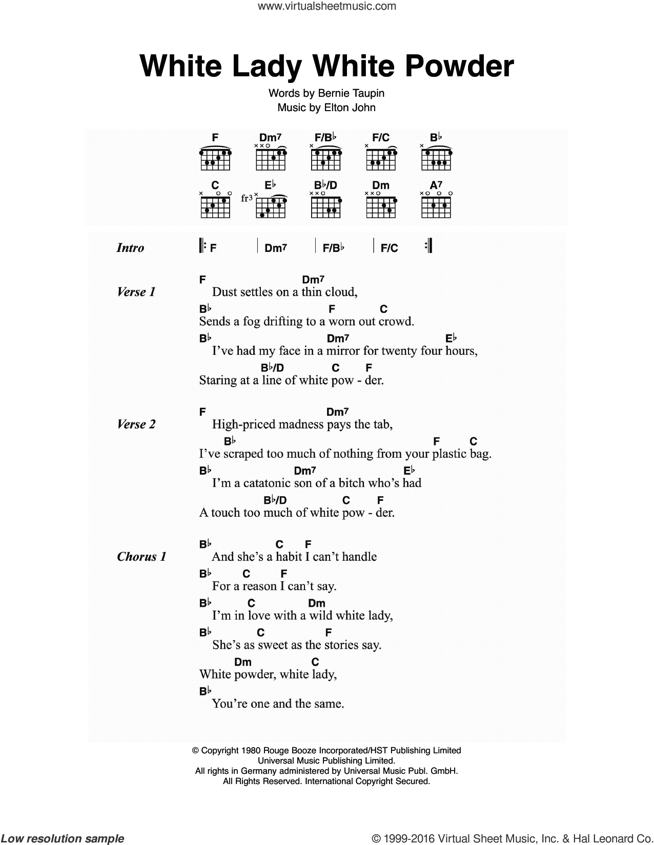 White Lady White Powder sheet music for guitar (chords) by Elton John and Bernie Taupin, intermediate skill level