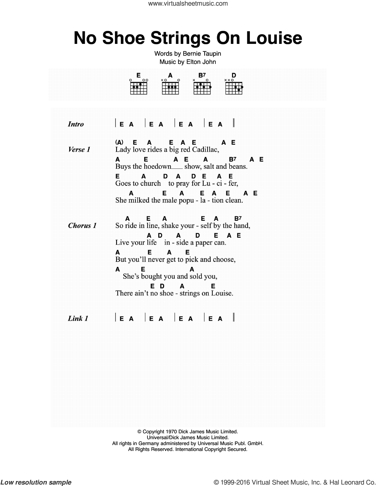No Shoe Strings On Louise sheet music for guitar (chords) by Elton John and Bernie Taupin, intermediate