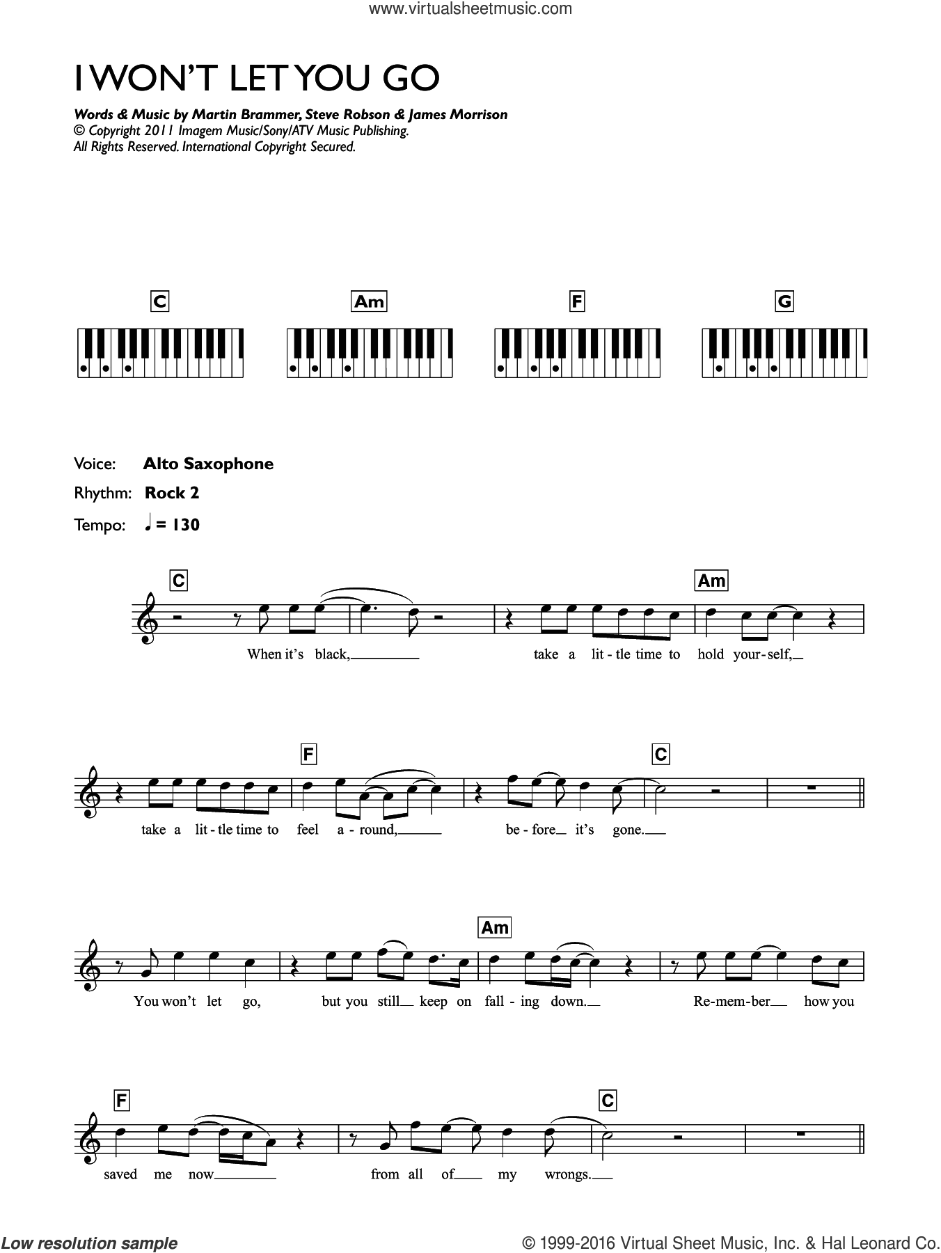 I Won't Let You Go sheet music for piano solo (chords, lyrics, melody) by James Morrison, Martin Brammer and Steve Robson, intermediate piano (chords, lyrics, melody)