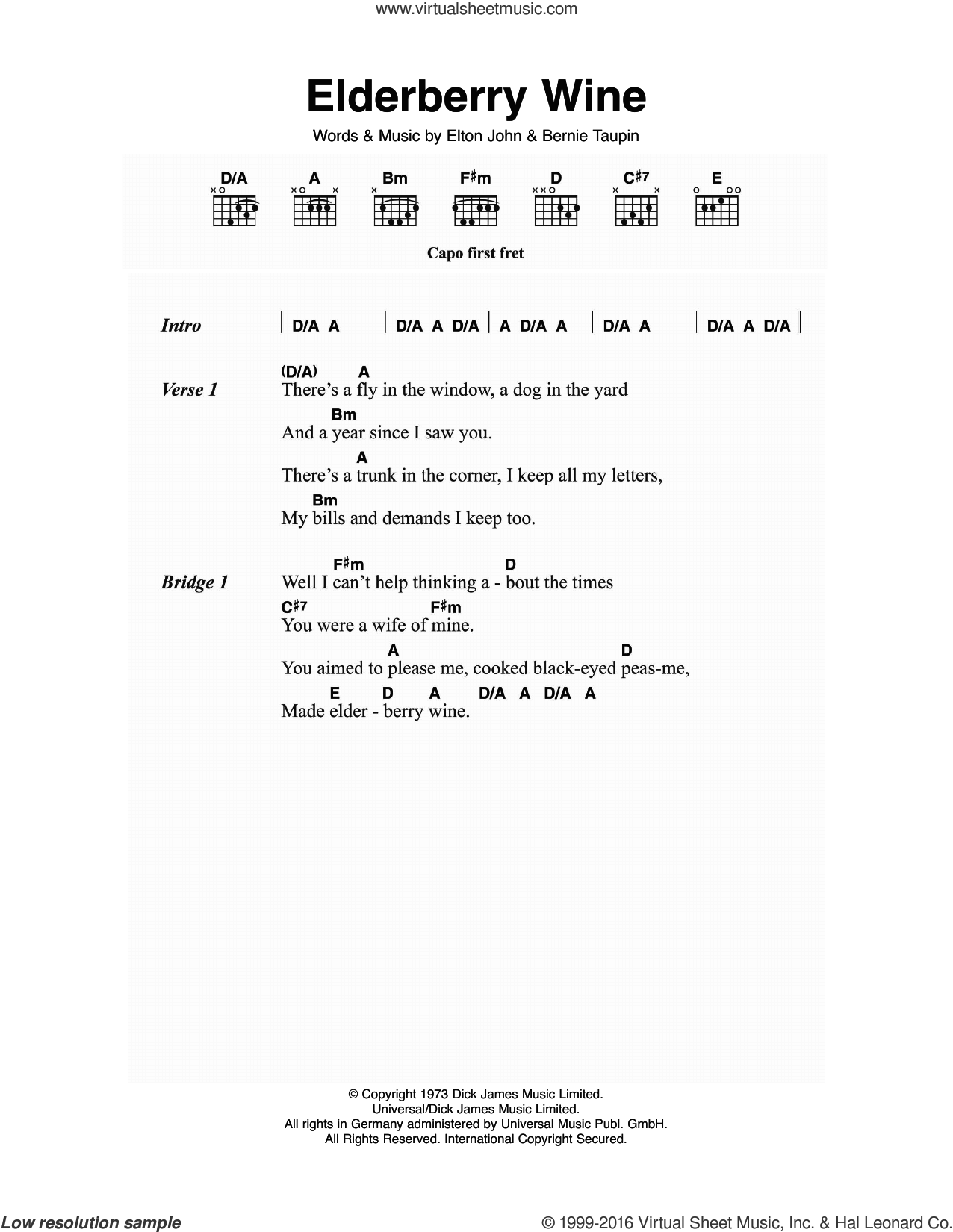 Elderberry Wine sheet music for guitar (chords) by Elton John and Bernie Taupin, intermediate skill level
